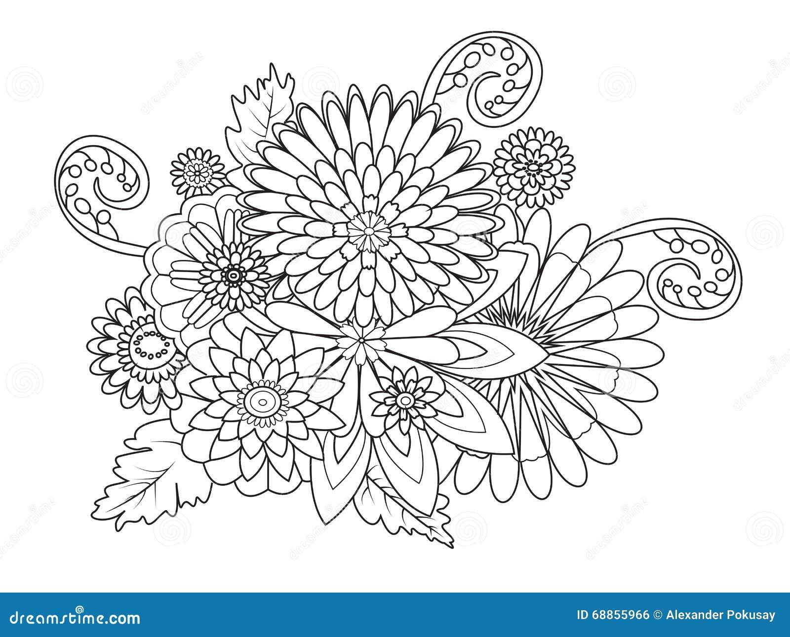 Libro De Colorear Del Ornamento De Las Flores Para El