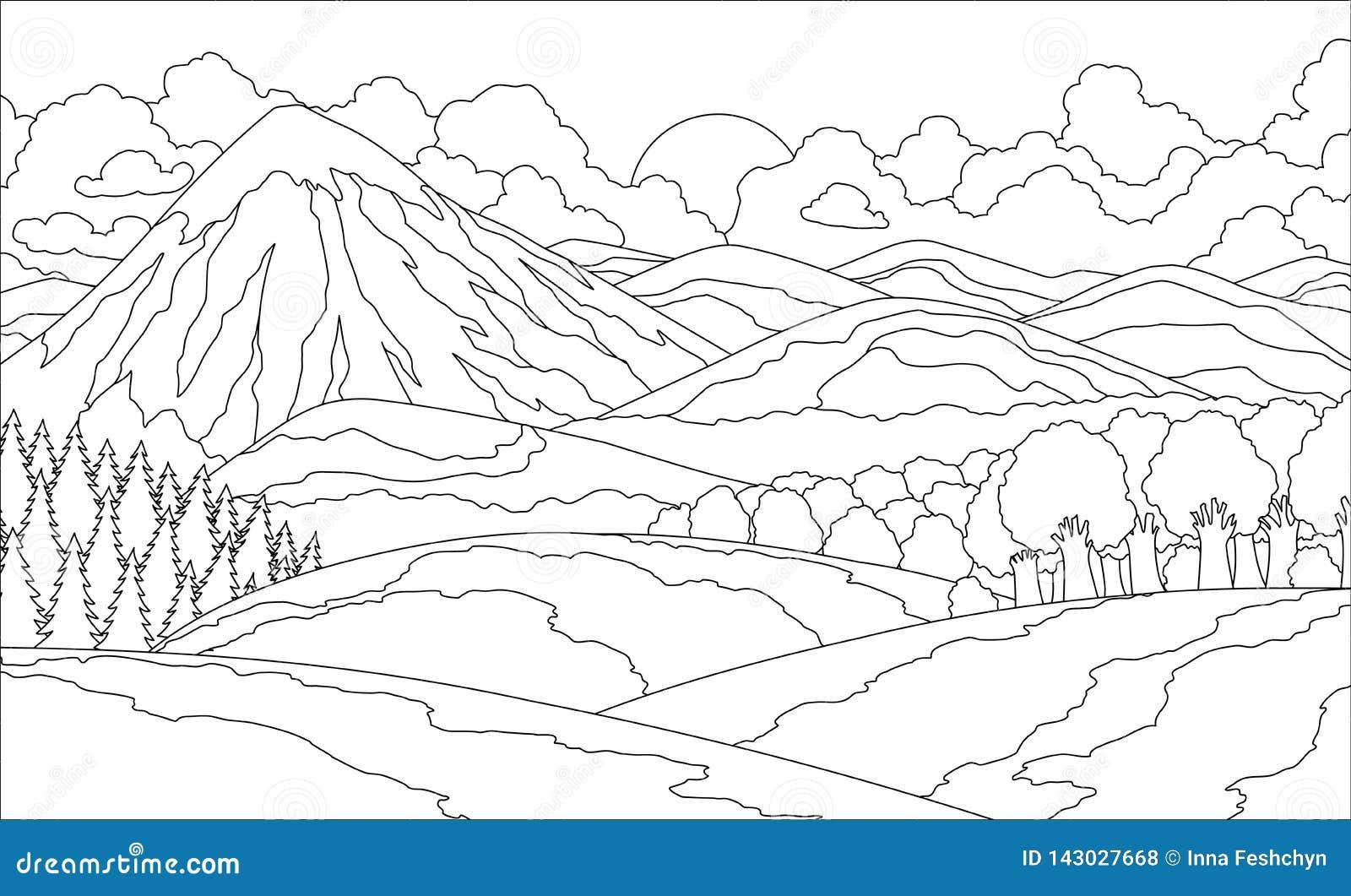 Libro De Colorear Del Paisaje De La Montaña Del Verano