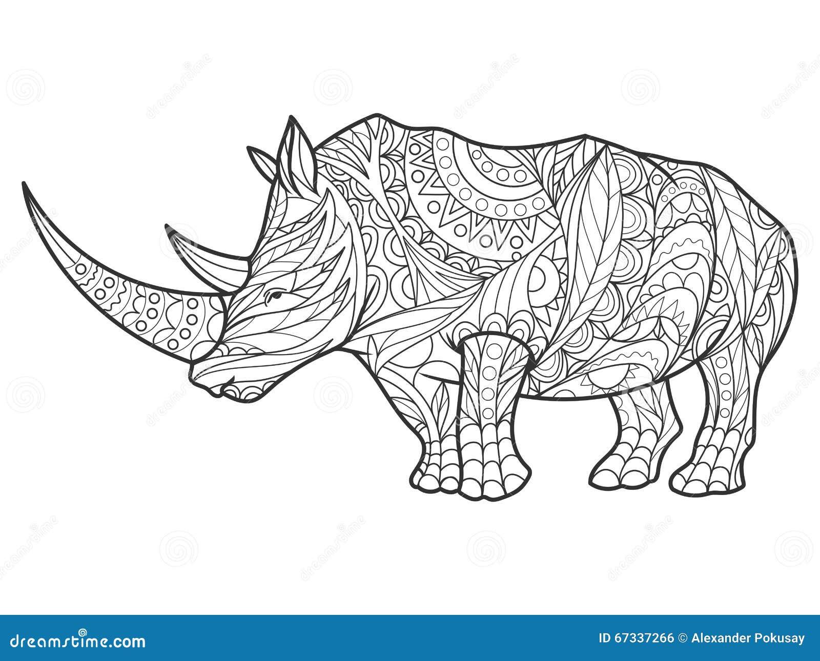Libro De Colorear Del Rinoceronte Para El Vector De Los Adultos ...