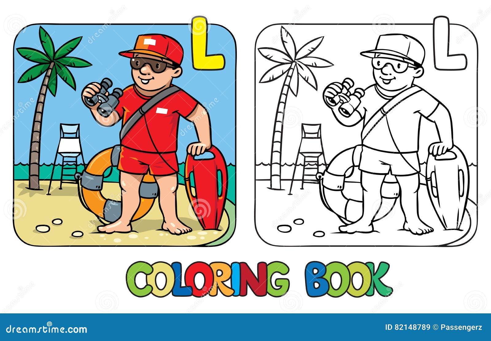 Libro De Colorear Del Salvavidas Alfabeto L Profesión ABC ...