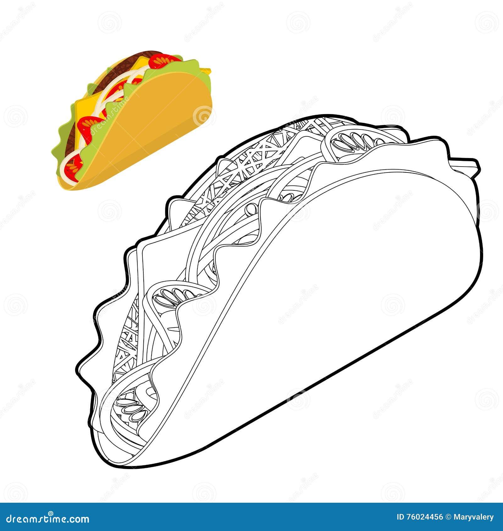 Libro De Colorear Del Taco Comida Mexicana Tradicional En Estilo ...