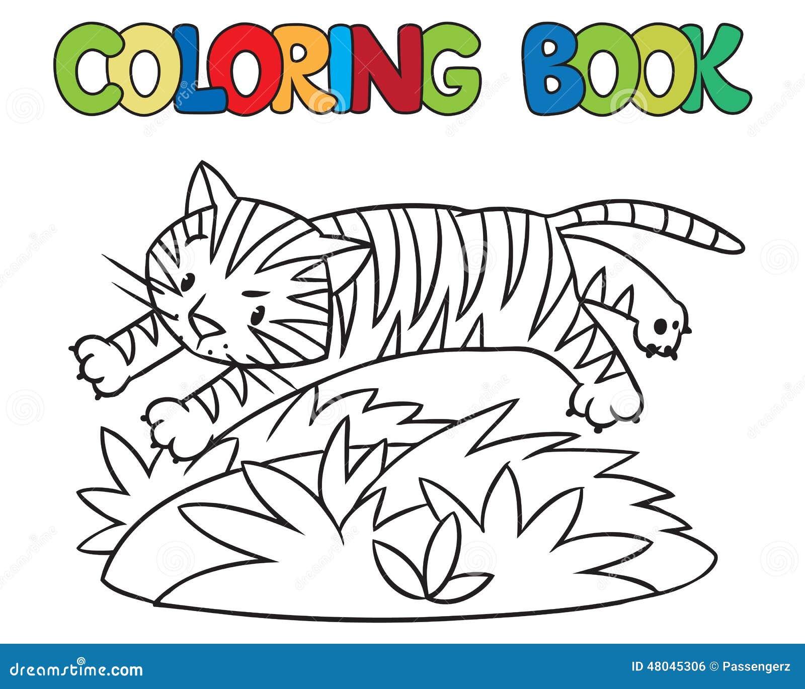 Libro De Colorear Del Tigre Salvaje Divertido Stock de ilustración ...