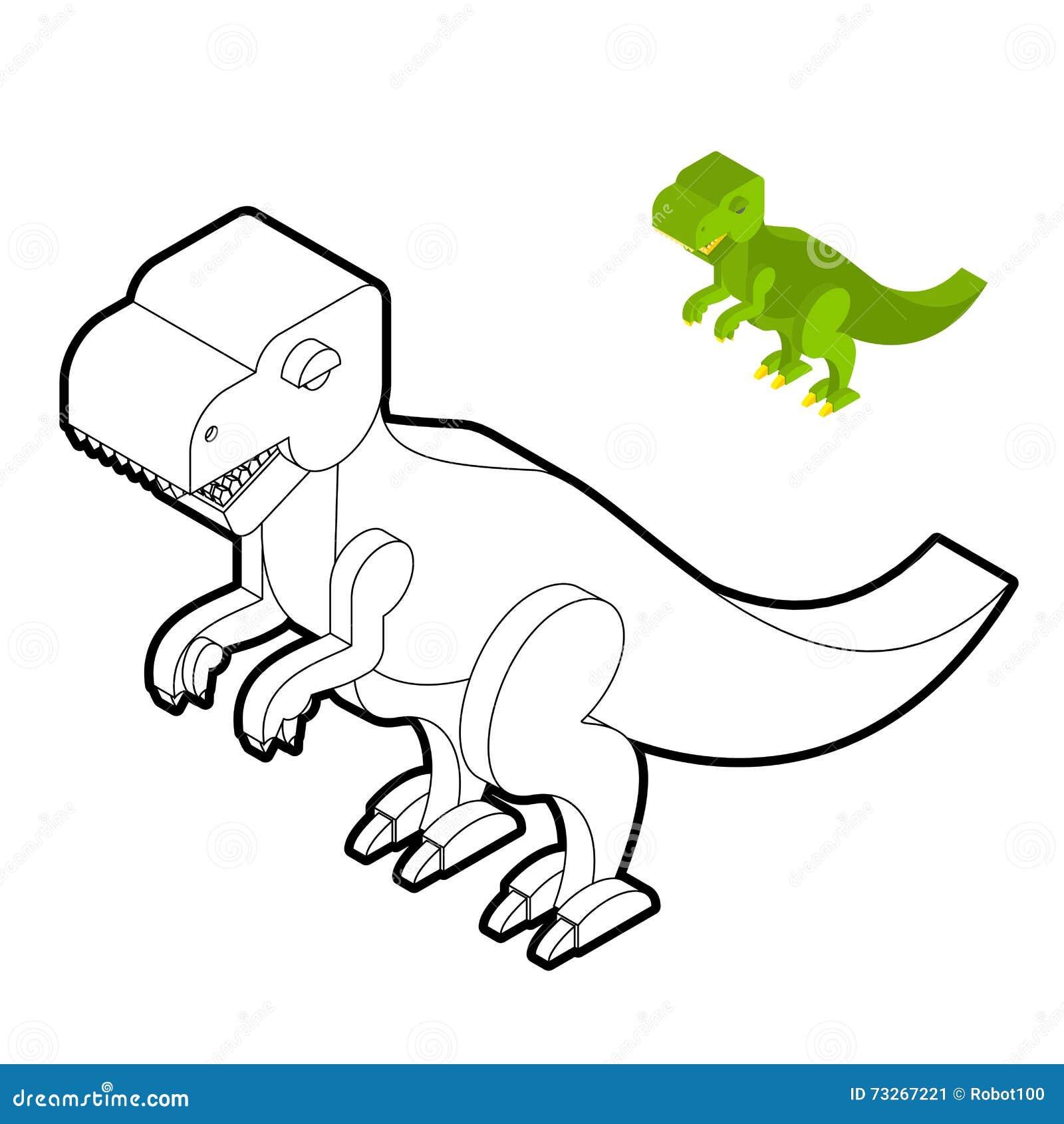Libro De Colorear Del Tiranosaurio Estilo Isométrico Del Dinosaurio ...