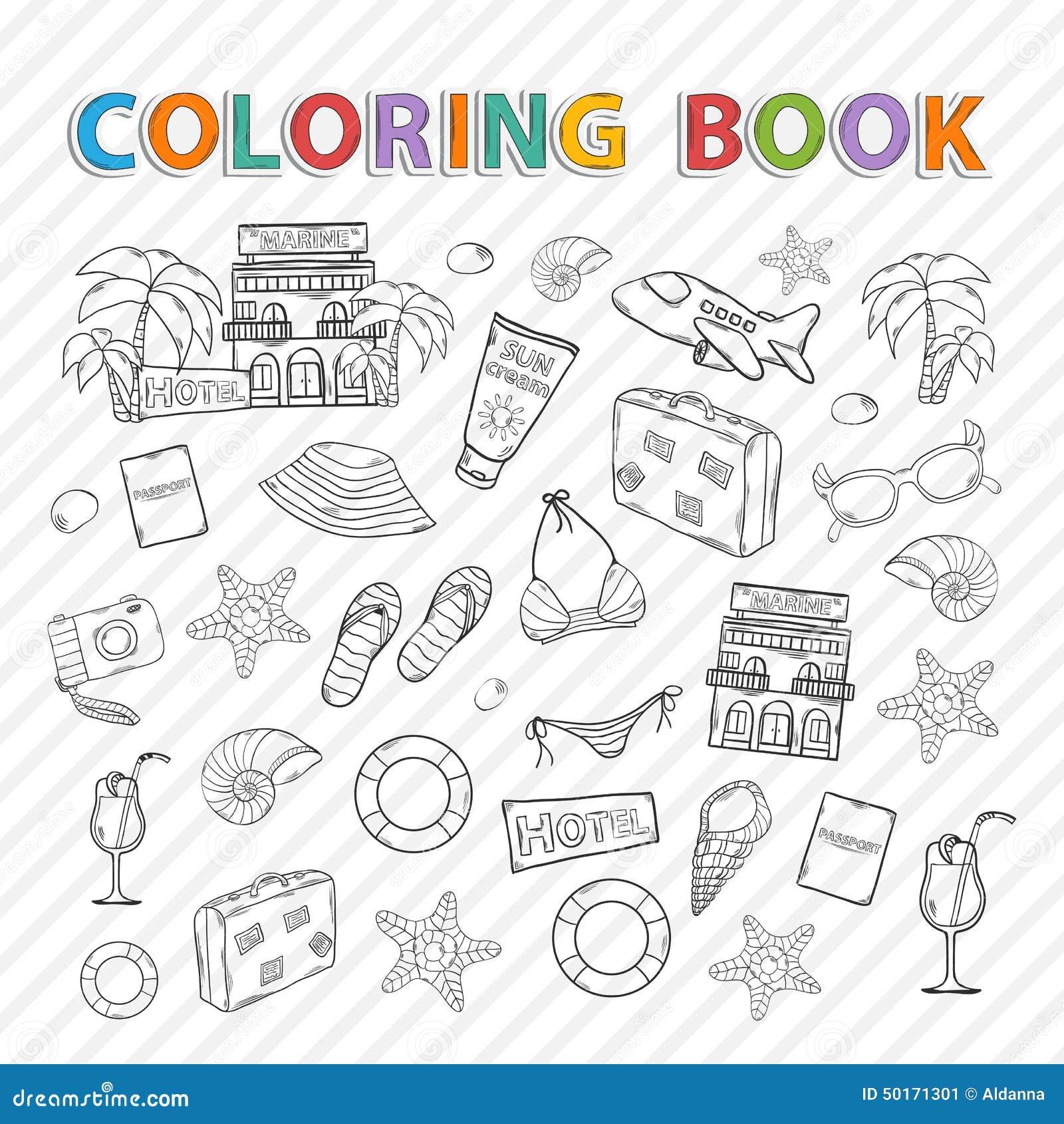 Libro De Colorear Del Vector Sistema Del Verano Ilustración del ...