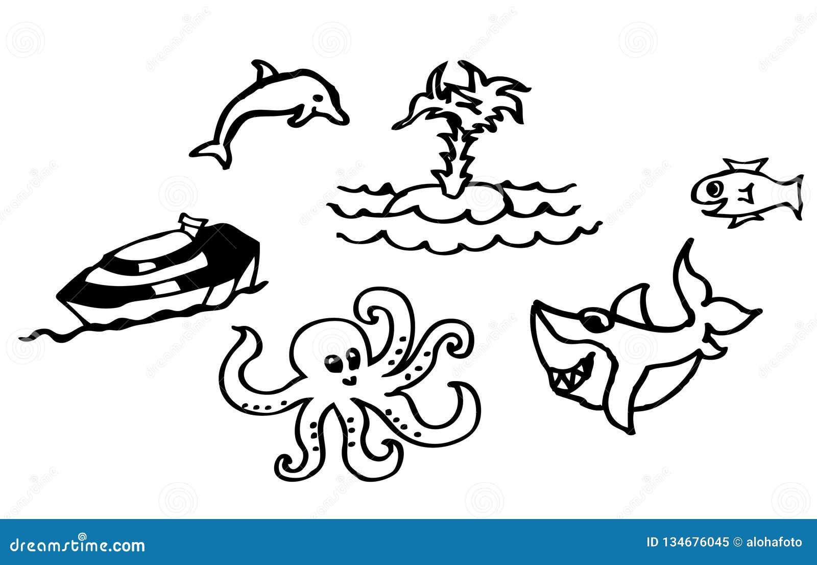 Libro De Colorear Dibujos Sobre La Playa Y El Mar Con Un Tiburón Y