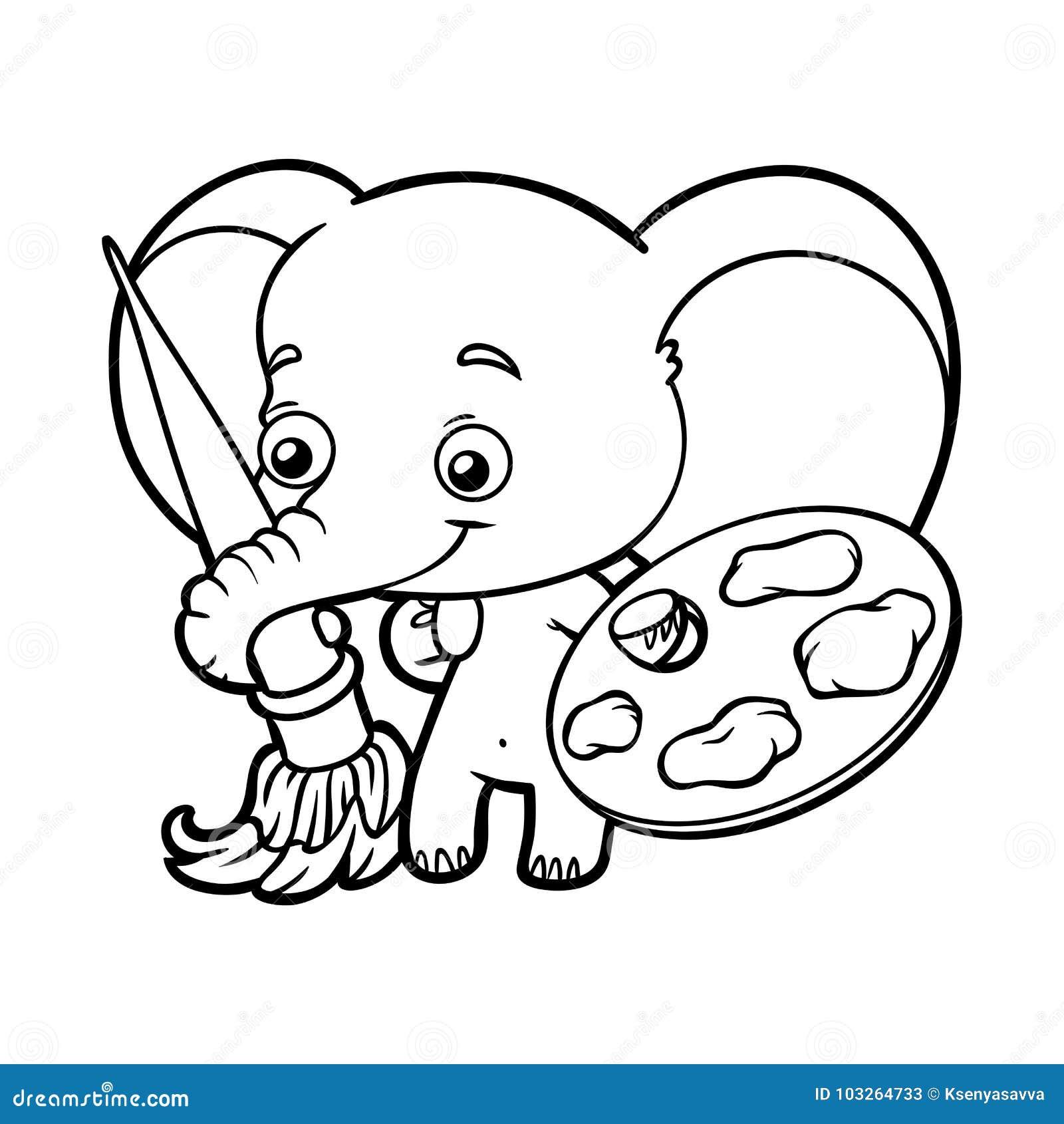 Libro De Colorear, Elefante Con Las Pinturas Y Un Cepillo ...