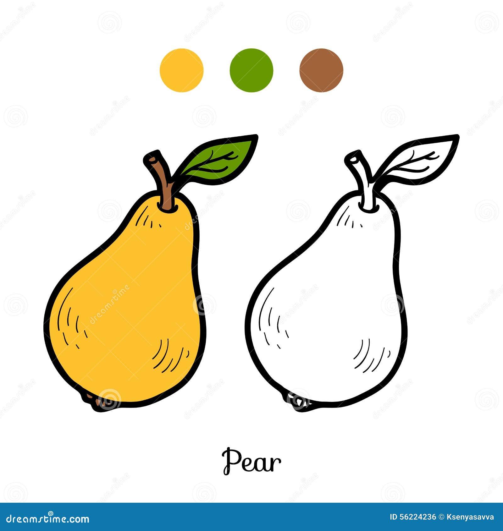 Libro De Colorear: Frutas Y Verduras (pera) Ilustración del Vector ...