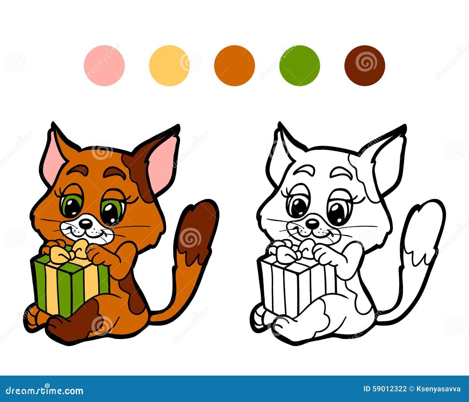 Libro De Colorear: Gato Del Invierno De La Navidad Con El Regalo ...