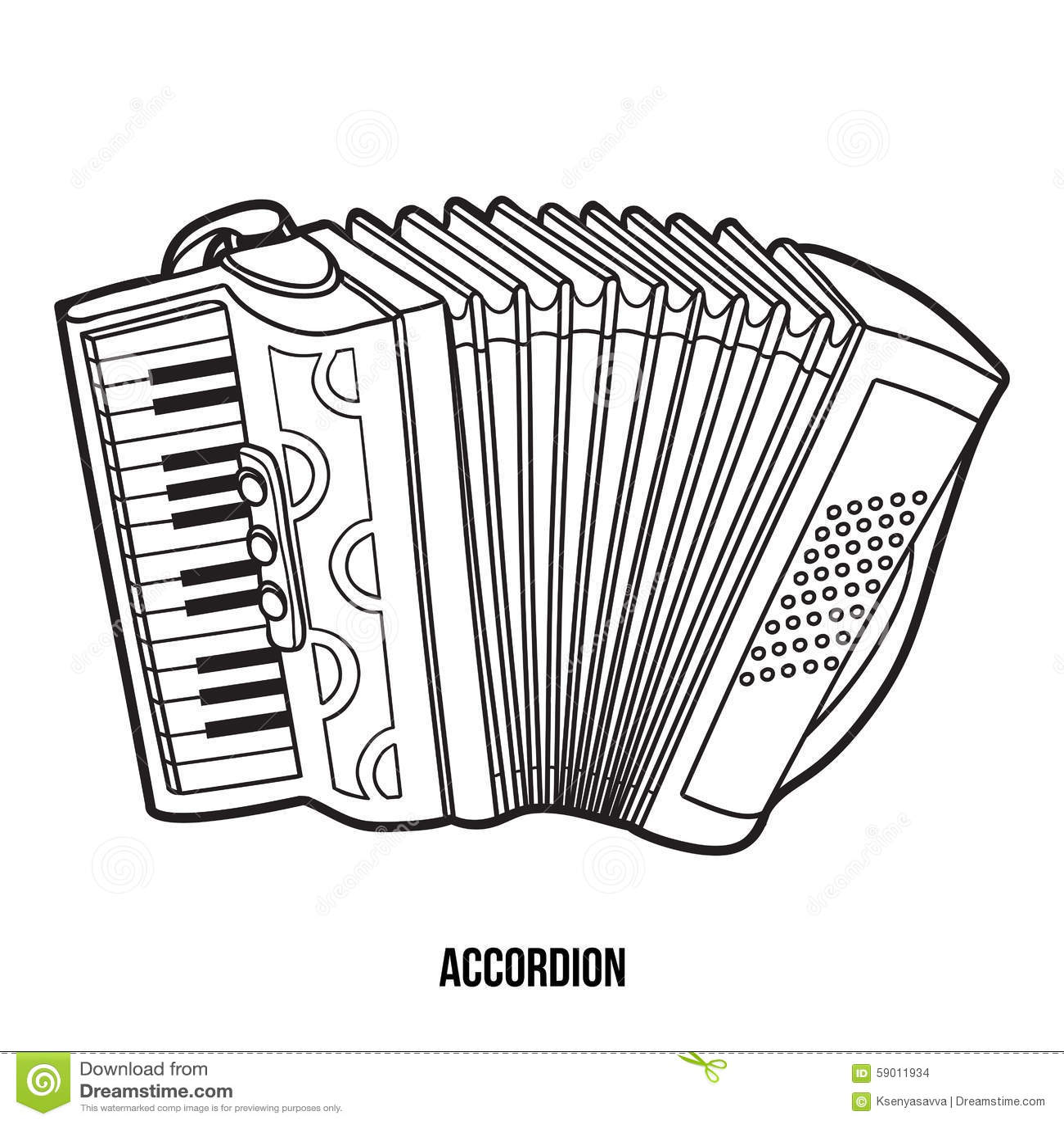 Libro De Colorear: Instrumentos Musicales (acordeón) Ilustración del ...
