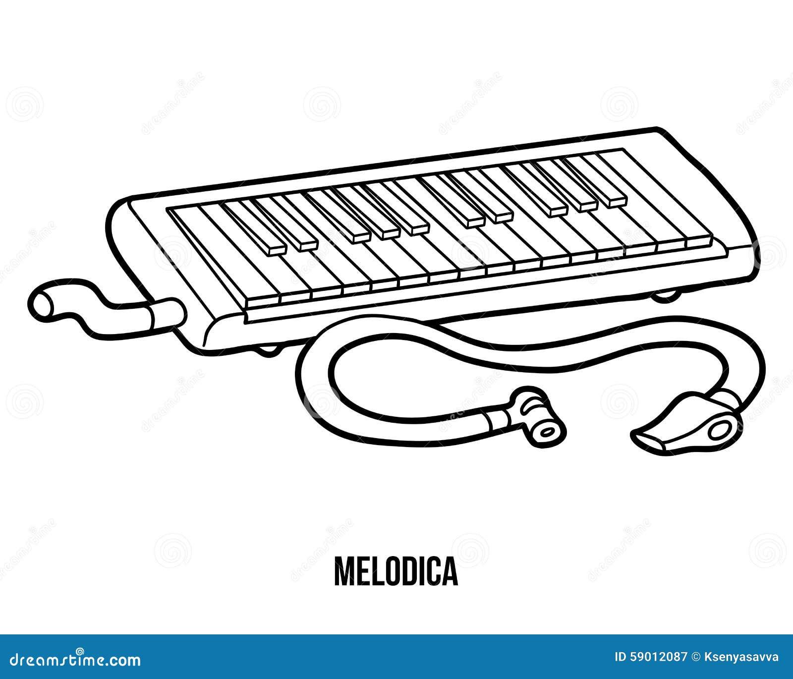 Libro De Colorear: Instrumentos Musicales (melodica) Ilustración del ...