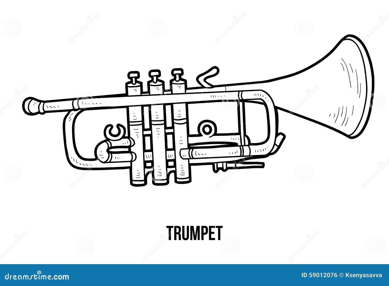 Libro De Colorear: Instrumentos Musicales (trompeta) Ilustración del ...