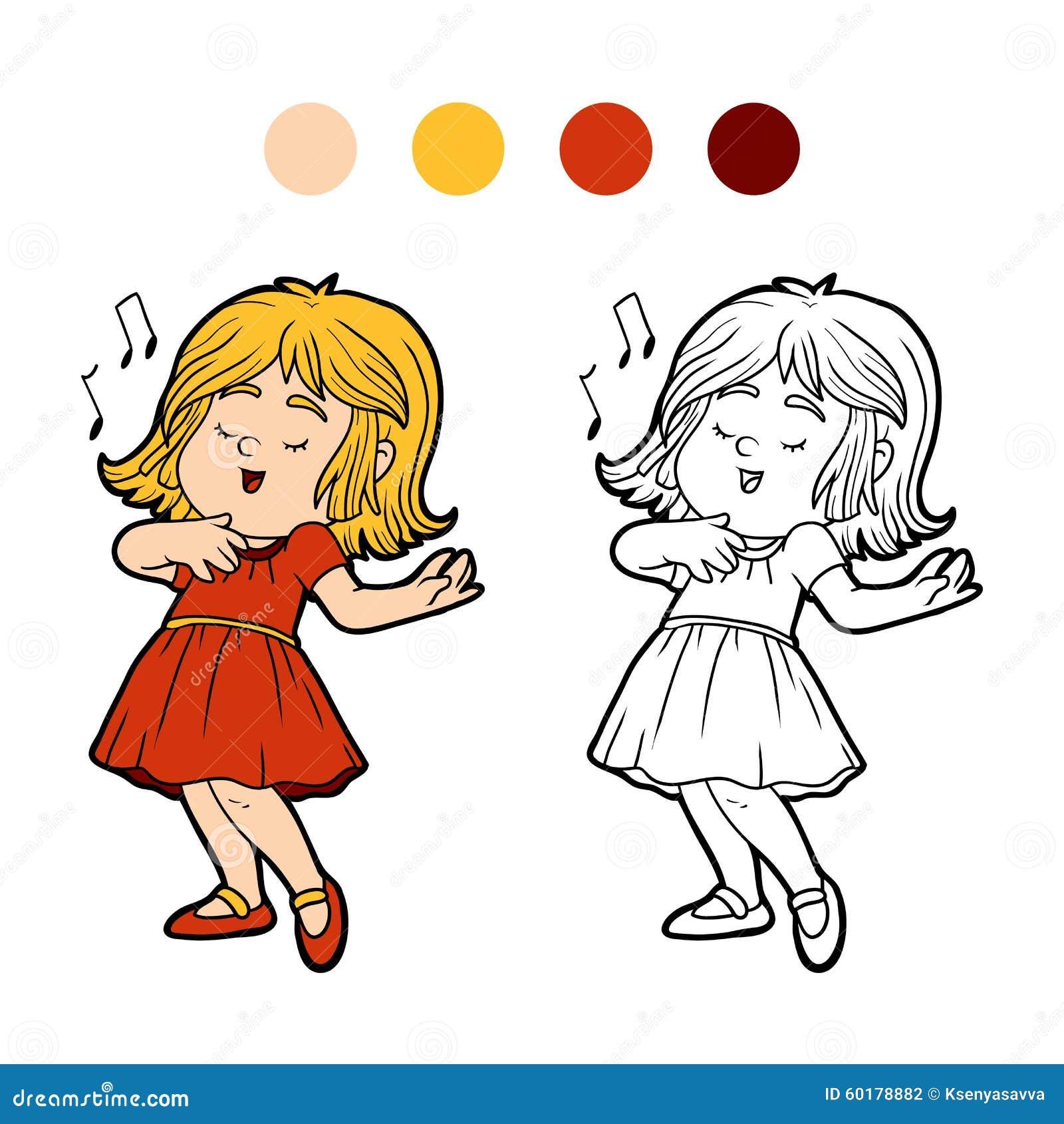 Libro De Colorear: La Niña En Un Vestido Rojo Está Cantando Una ...