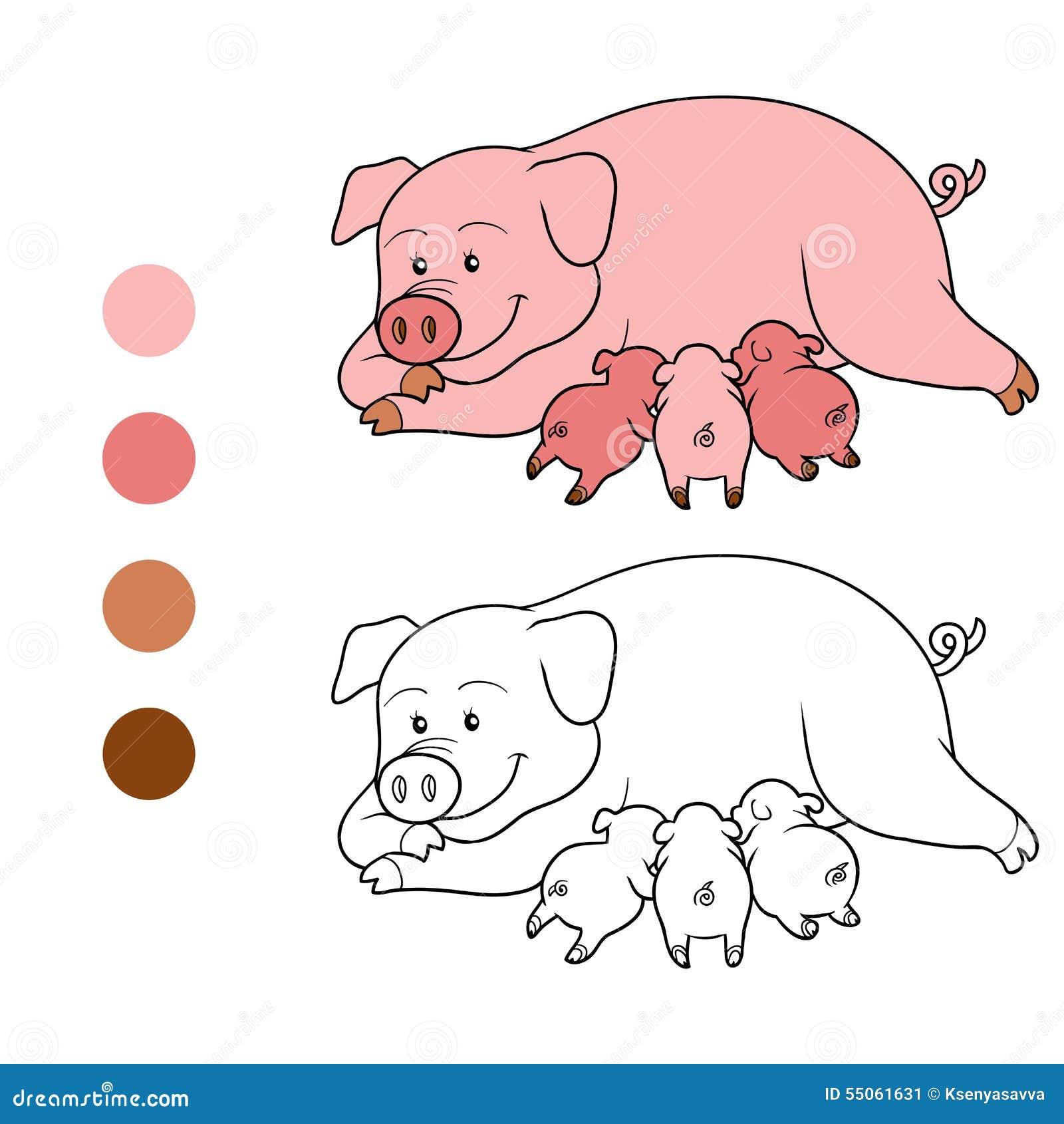 Libro De Colorear (mamá Y Piget Del Cerdo) Ilustración del Vector ...