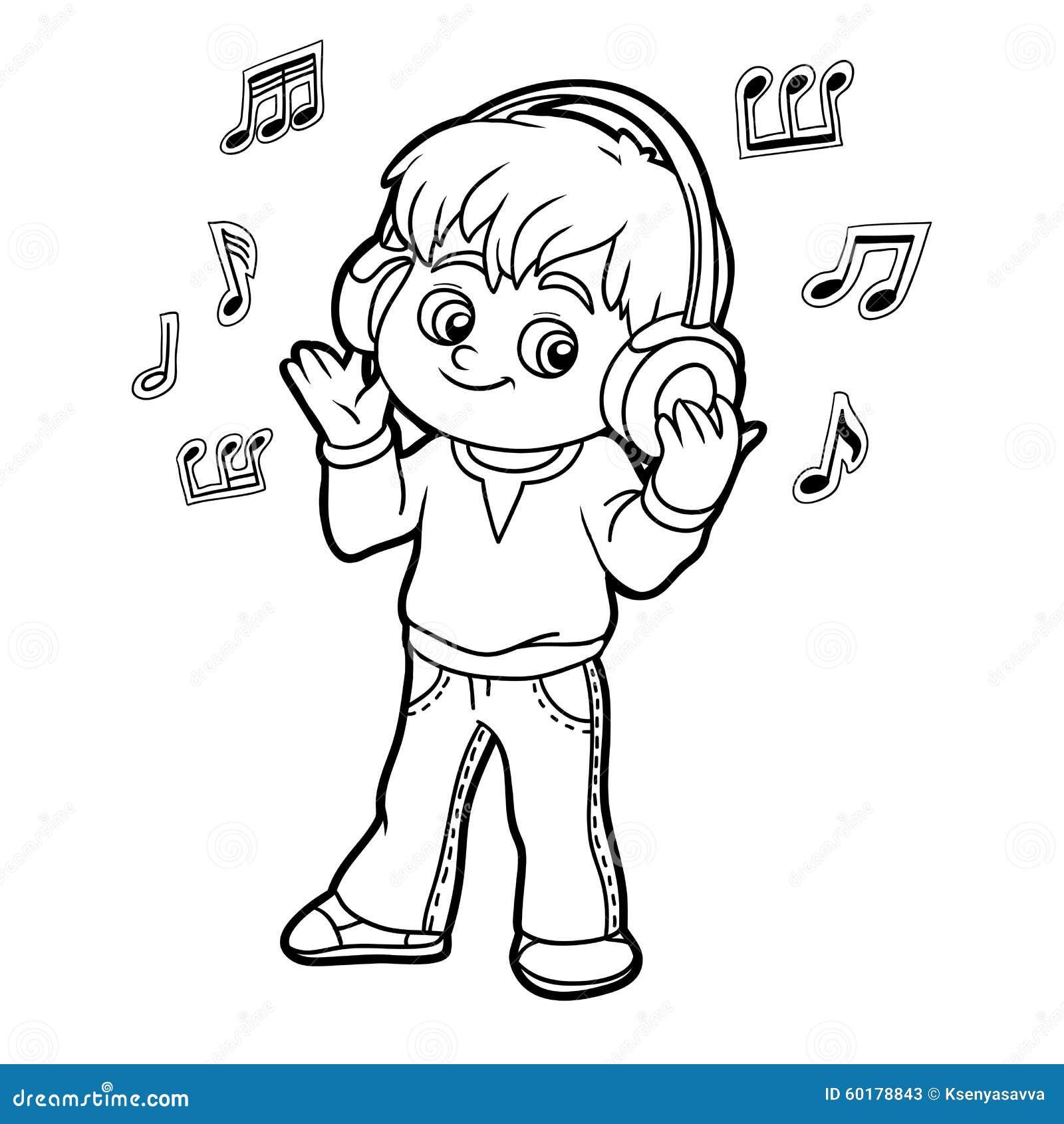 Libro De Colorear Niño Pequeño Que Escucha La Música En Los
