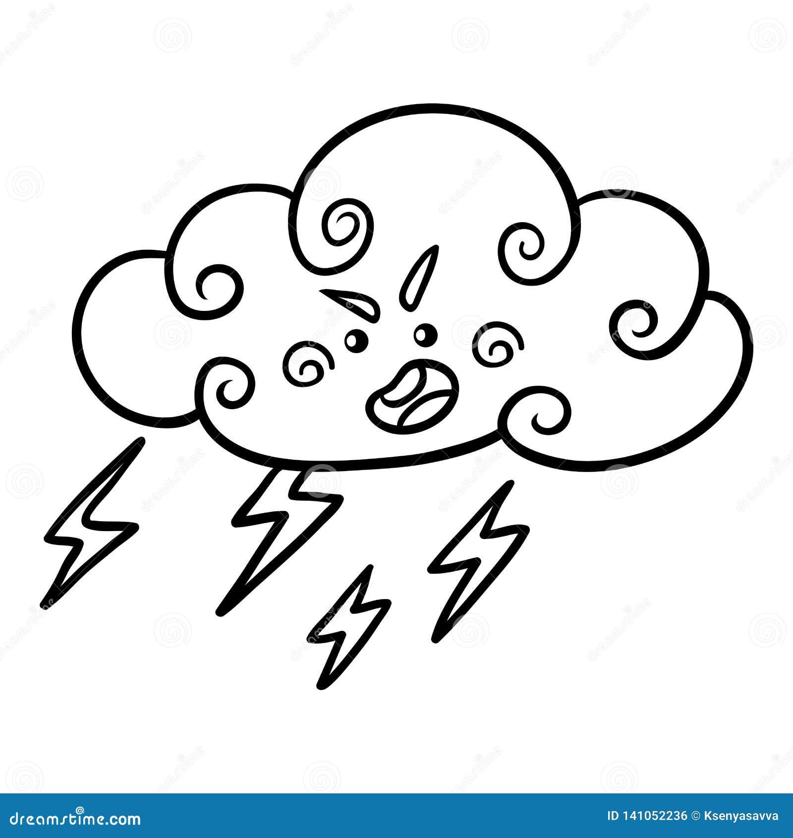 Libro De Colorear Nube Tormentosa Con El Relámpago Y Gotas De Agua