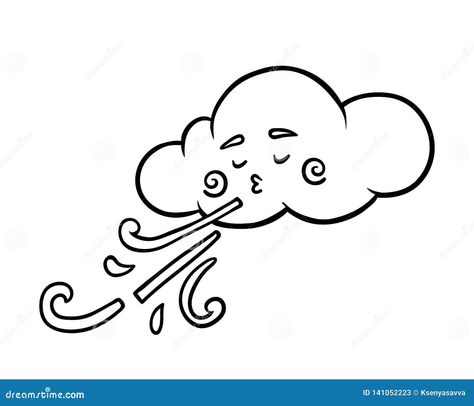 Libro De Colorear Nube Y Viento Ilustración Del Vector