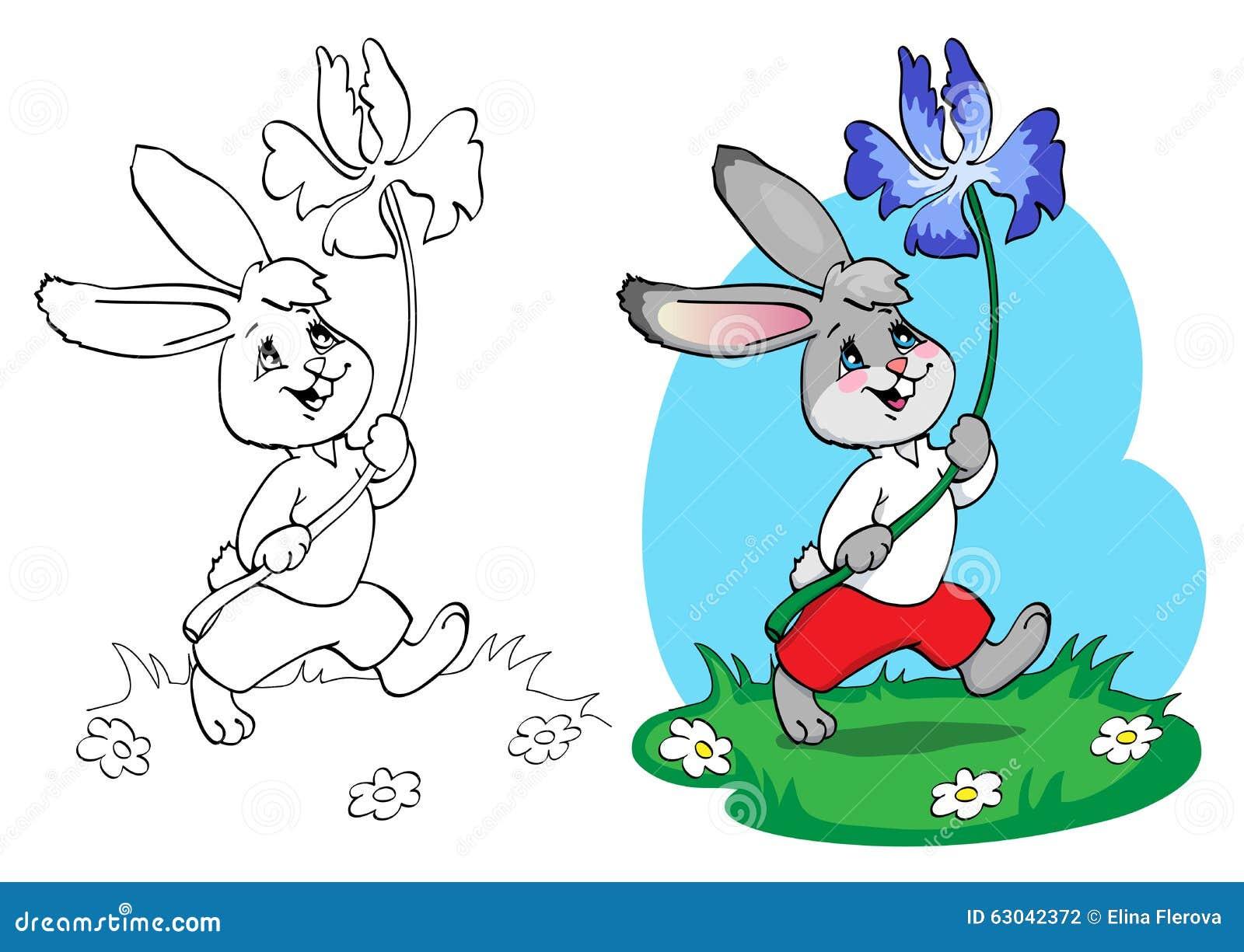 Libro De Colorear O Pagina Conejo En Pantalones Cortos Rojos Y Camisa Blanca Con Una Flor Azul Ilustracion Del Vector Ilustracion De Azul Colorear 63042372