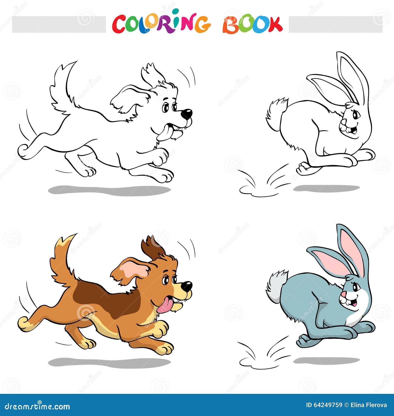 Libro De Colorear O Página Perro Que Persigue Un Conejo Ilustración ...