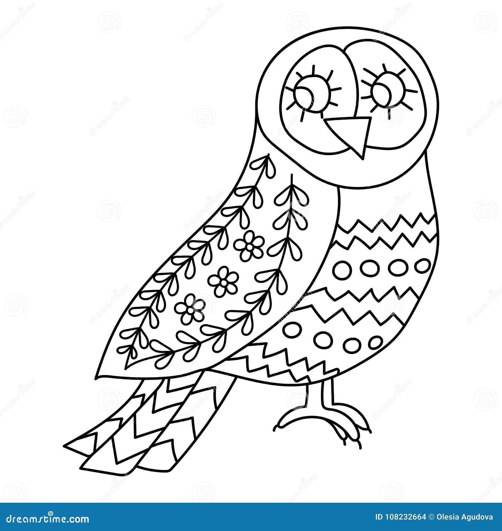 Libro De Colorear O Páginas Para Los Adultos Pájaros Del Ejemplo Con ...
