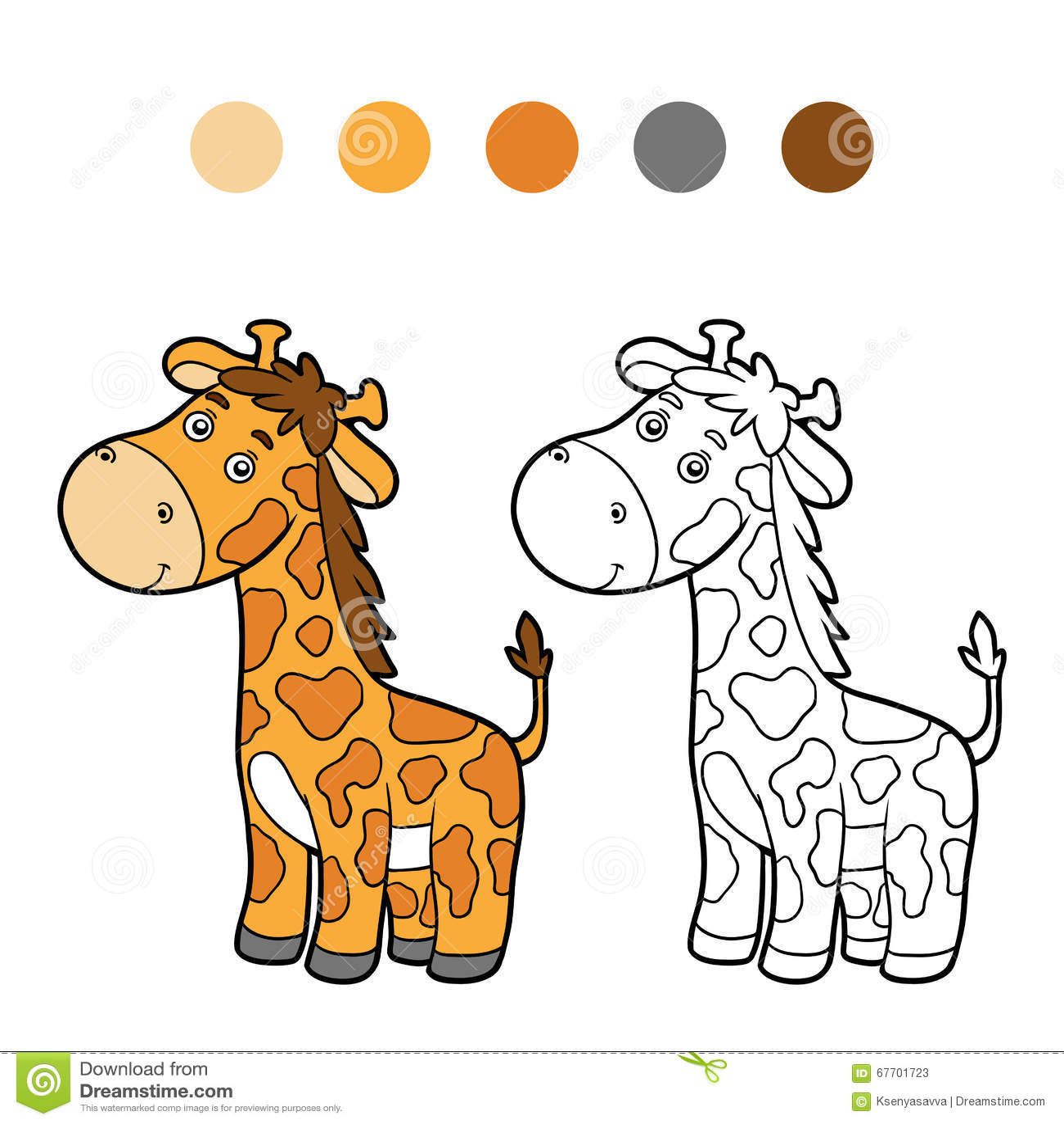 Libro De Colorear Página Que Colorea Jirafa Ilustración Del