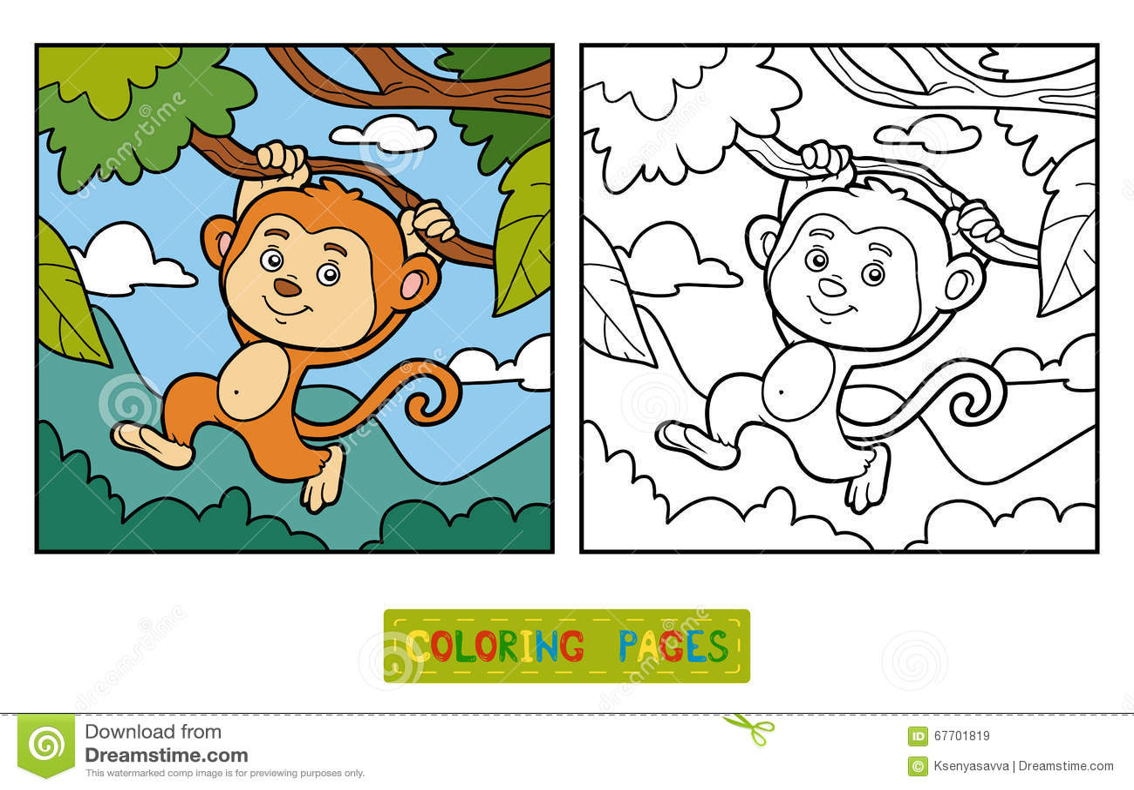 Libro De Colorear, Página Que Colorea (mono Y Fondo) Ilustración del ...