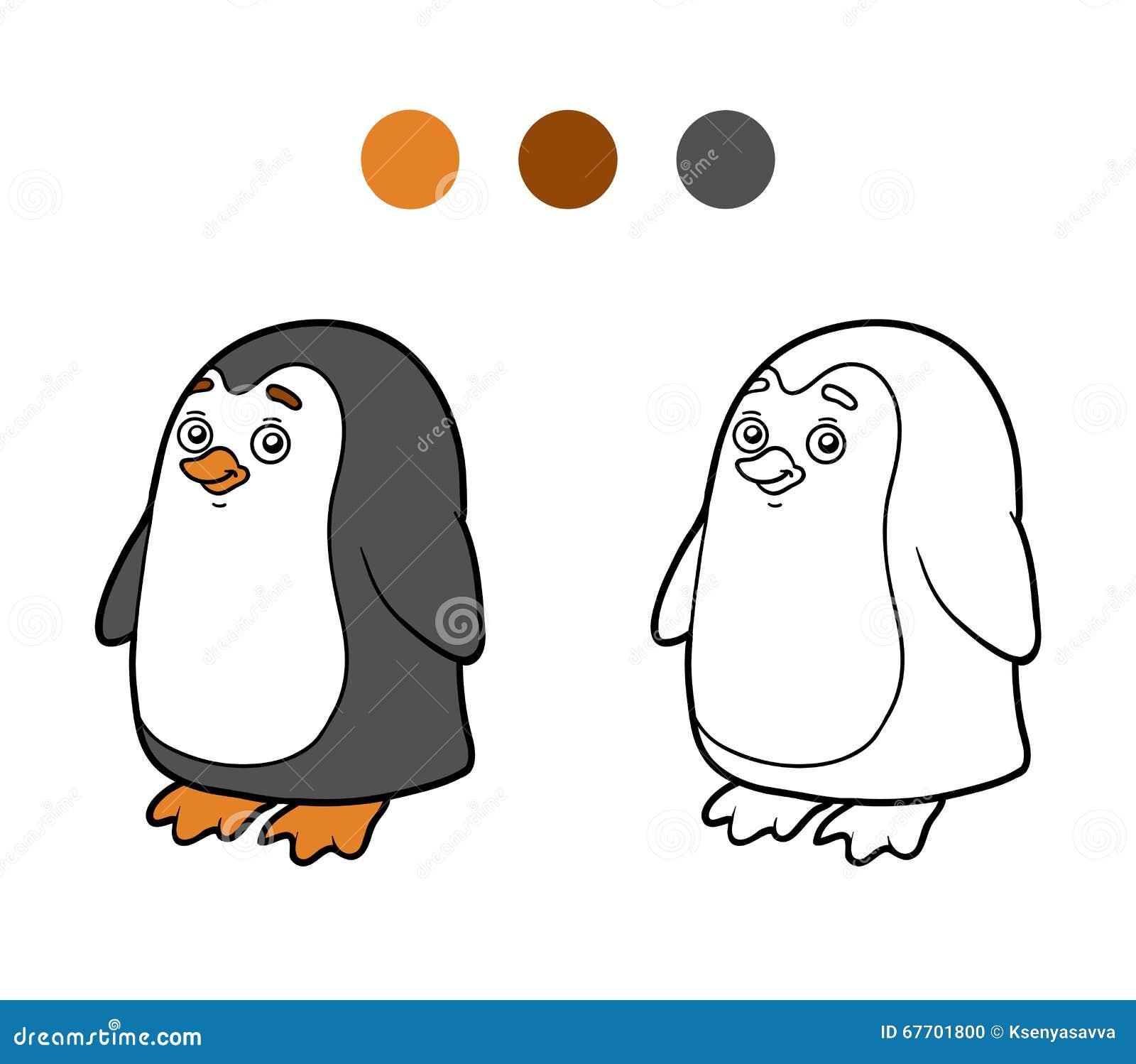 Libro De Colorear, Página Que Colorea (pingüino) Ilustración del ...