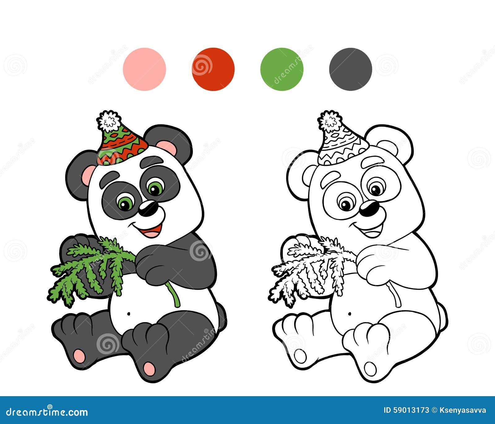 Libro De Colorear: Panda Del Invierno De La Navidad Ilustración del ...
