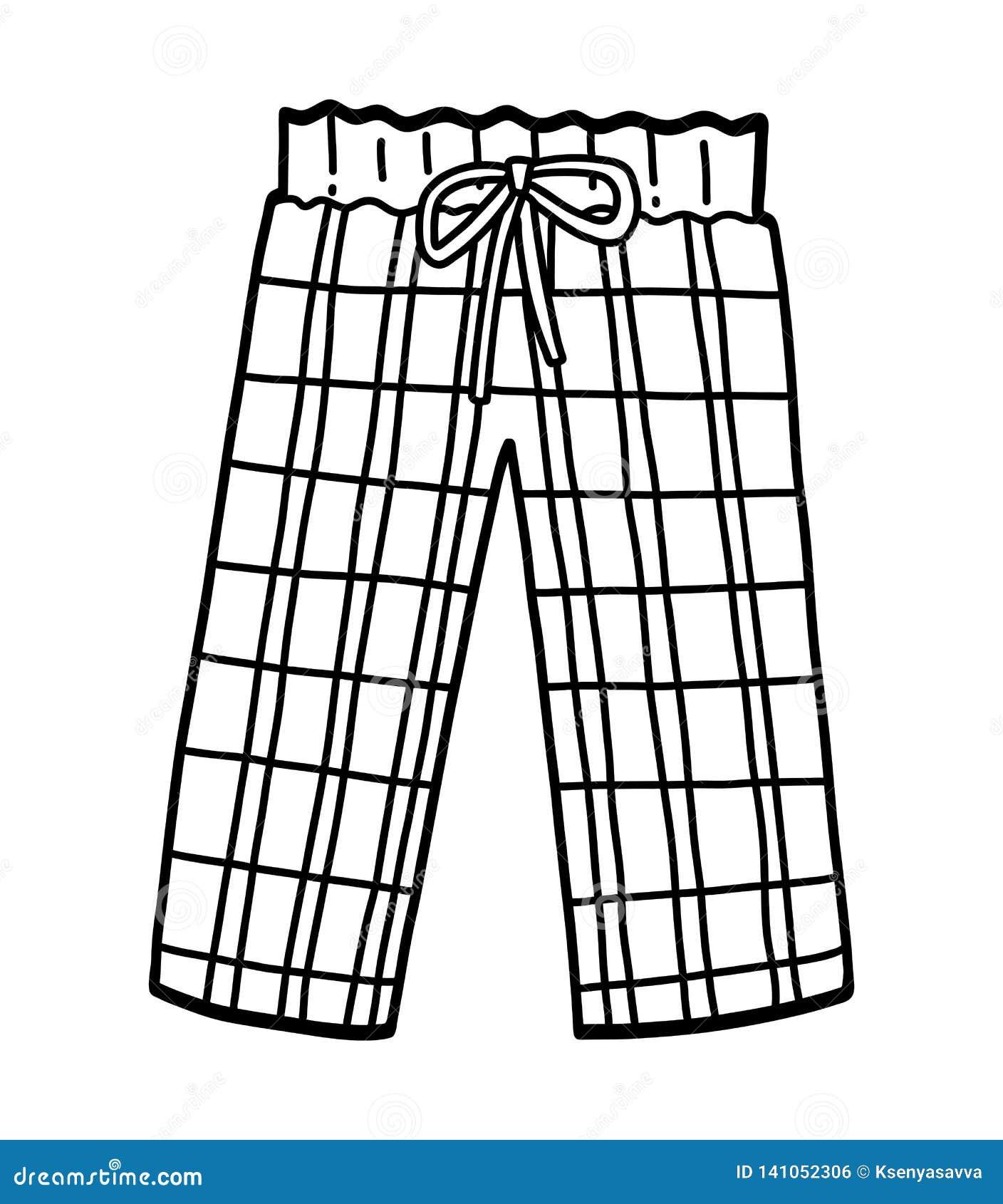 Libro De Colorear Pantalones De Pijama Ilustracion Del Vector Ilustracion De Colorear Pantalones 141052306