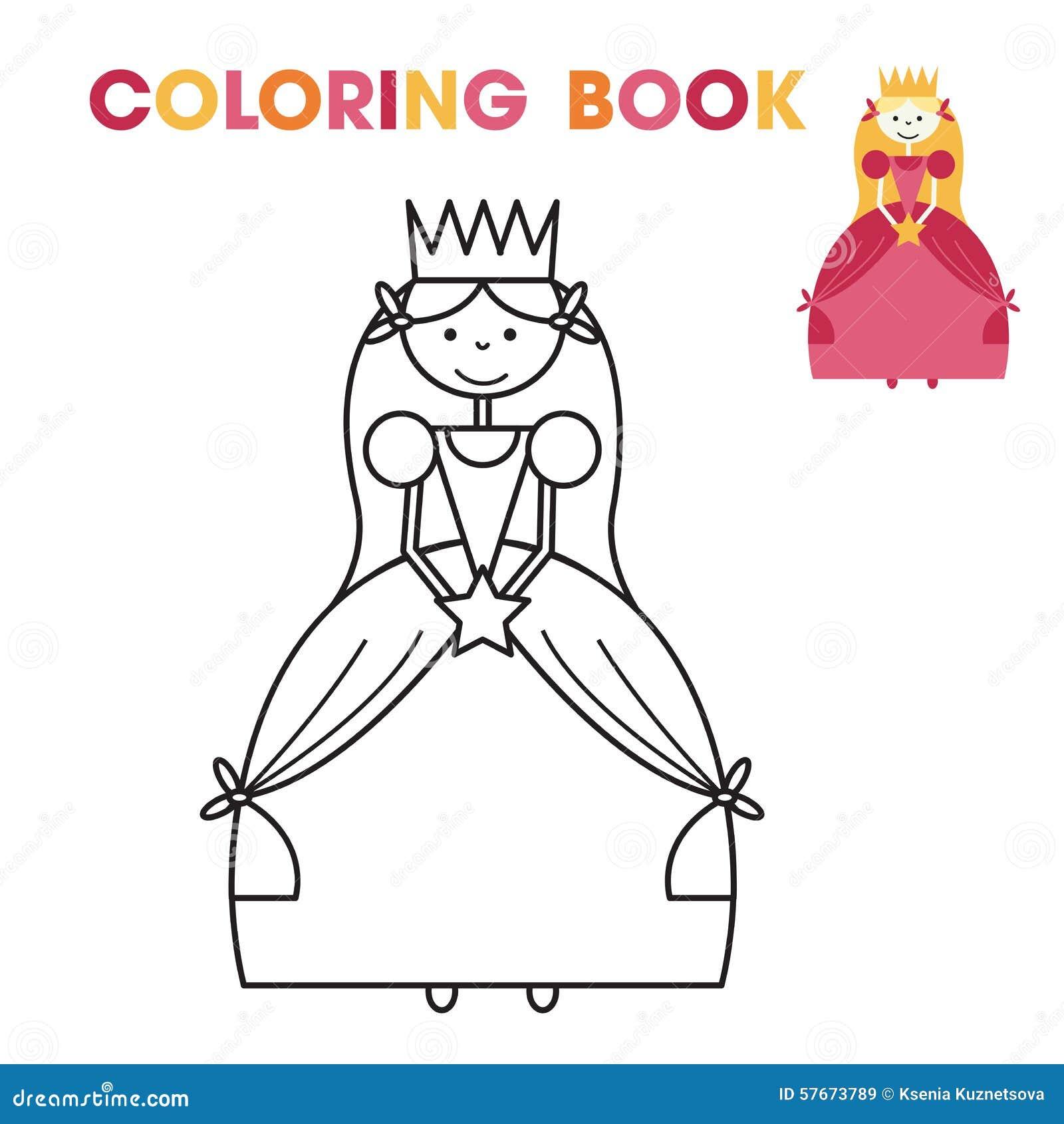 Libro De Colorear Para Las Niñas - La Princesa Ilustración del ...