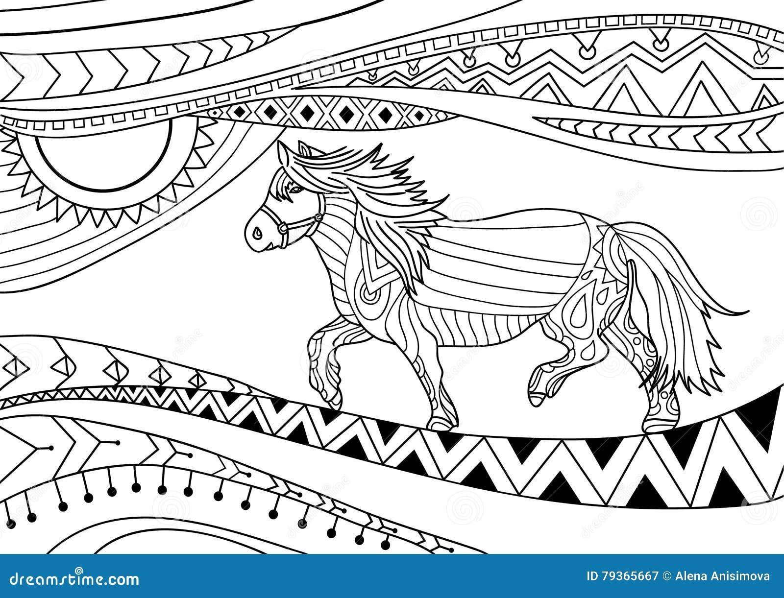 Libro De Colorear Para Los Adultos Línea Diseño Del Arte El Caballo ...