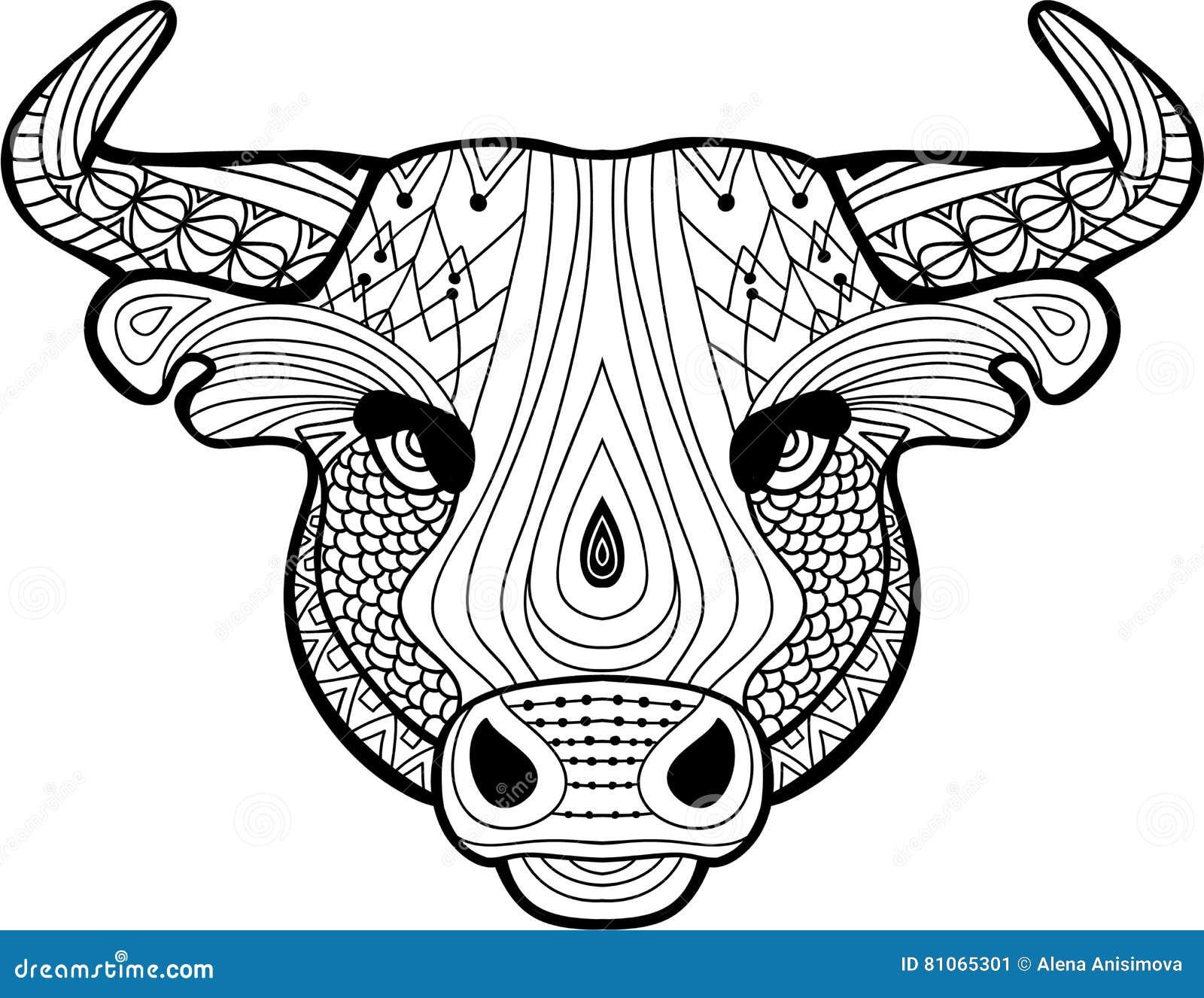 Libro De Colorear Para Los Adultos La Cabeza De Un Búfalo ...