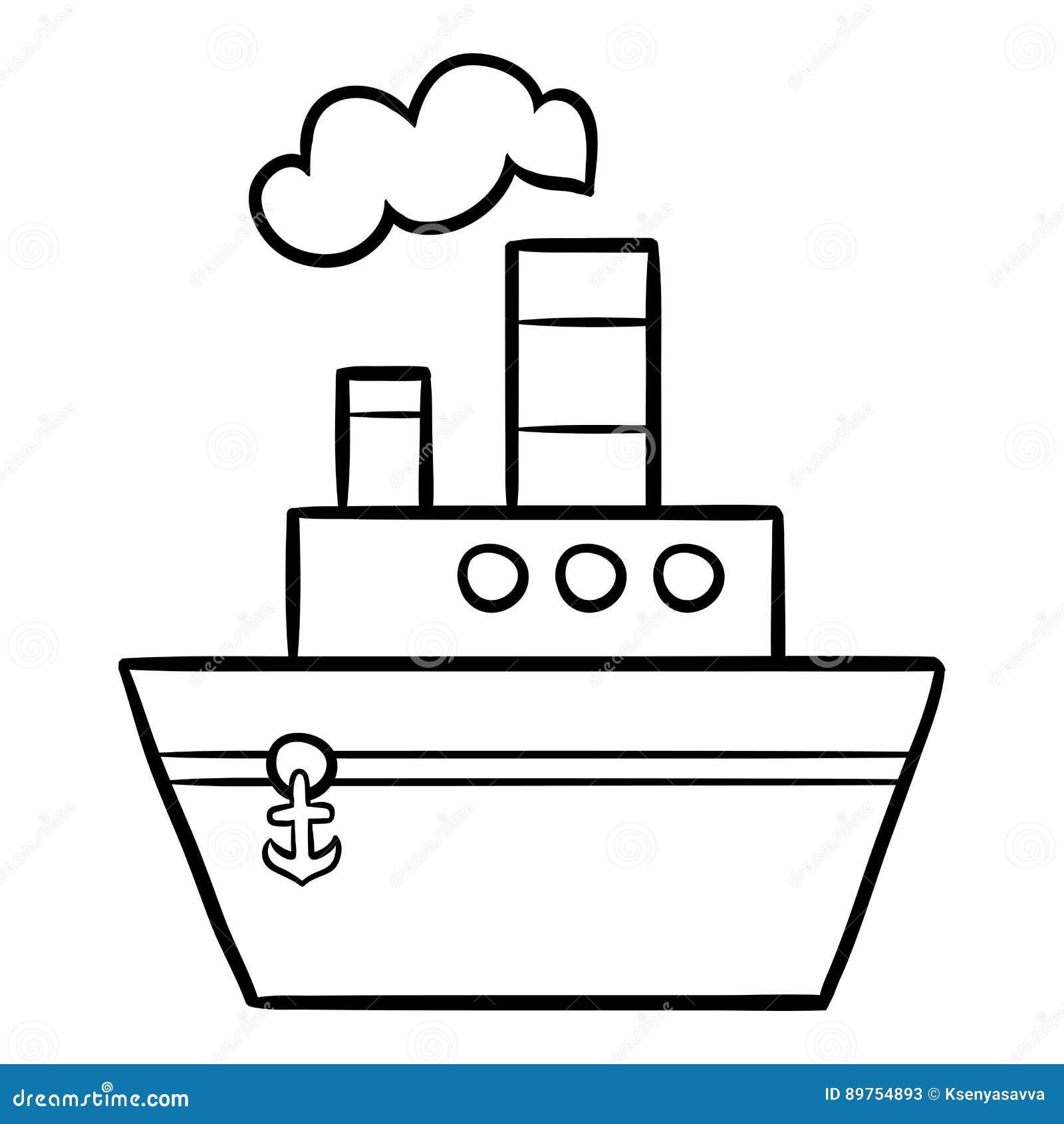 Libro de colorear para los niños, buque de vapor