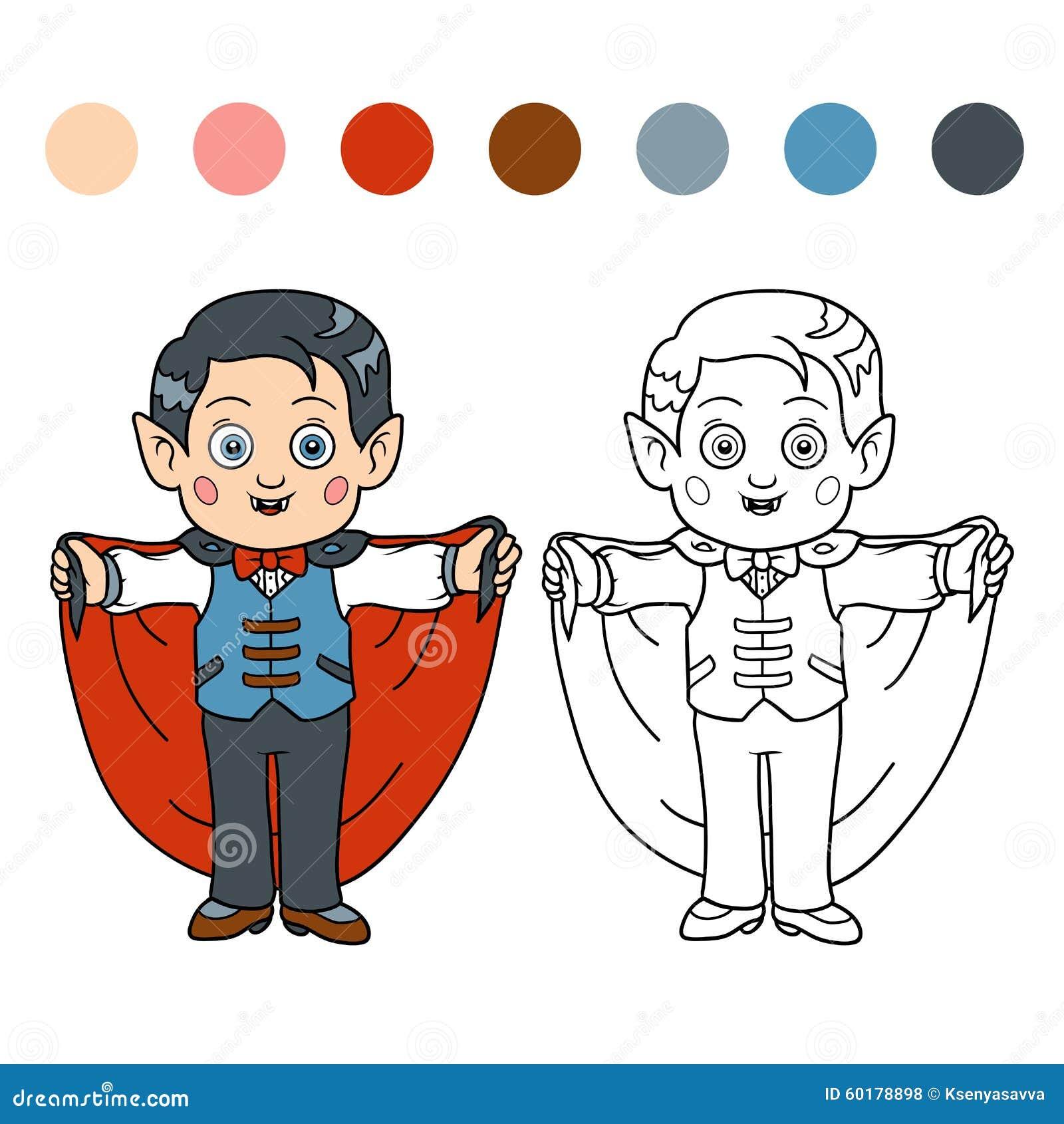 Libro De Colorear Para Los Niños: Caracteres De Halloween (vampiro ...