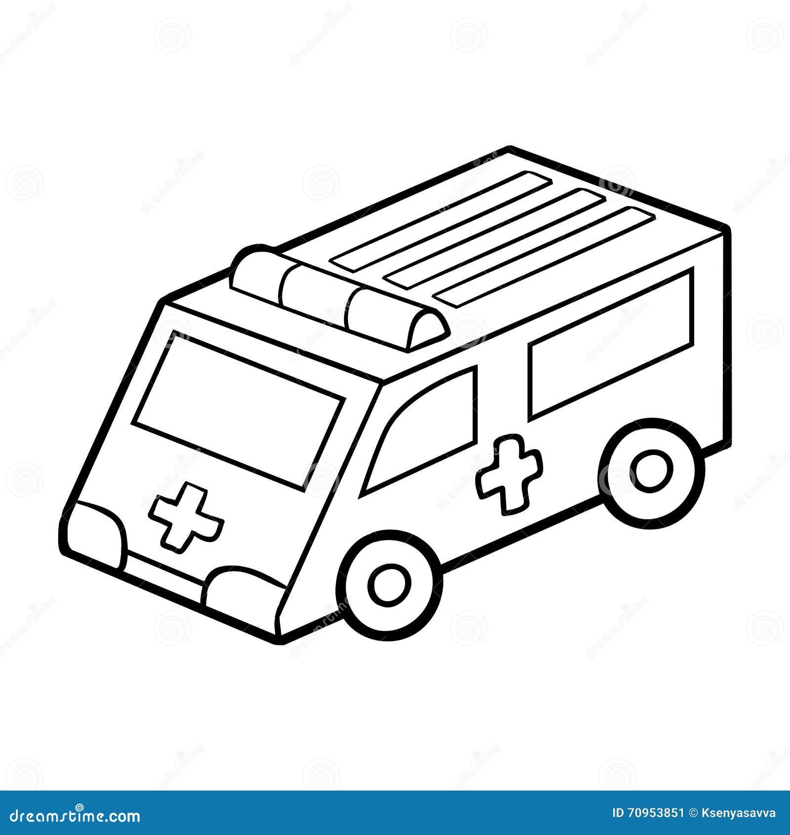 Libro De Colorear Para Los Niños Coche De La Ambulancia Ilustración ...
