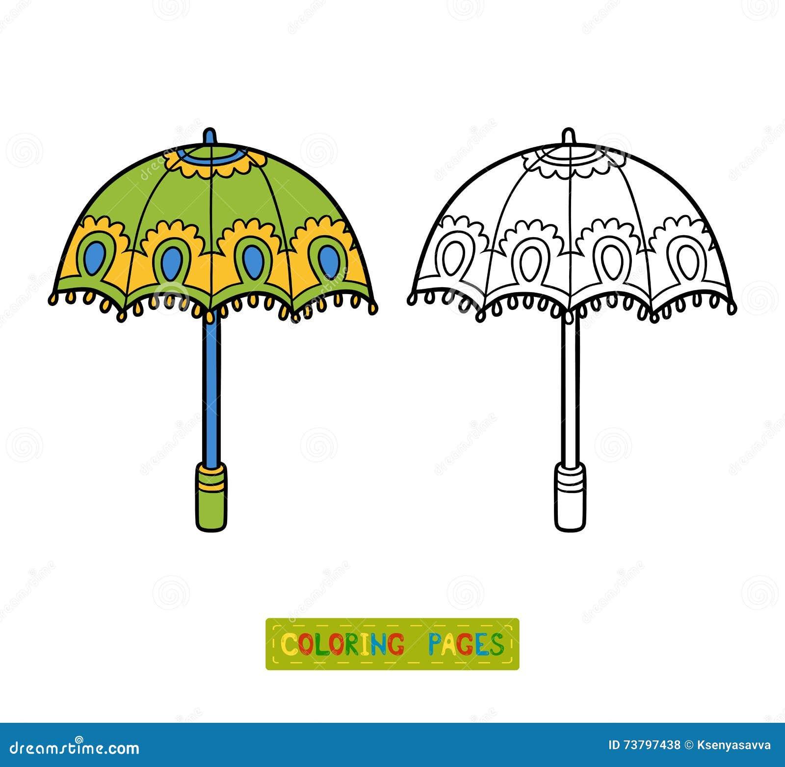 Libro De Colorear Para Los Niños, Paraguas Ilustración del Vector ...