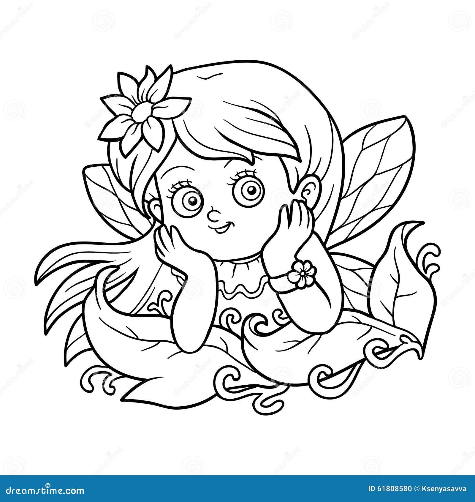 Libro De Colorear Para Los Niños: Pequeña Hada Ilustración del ...