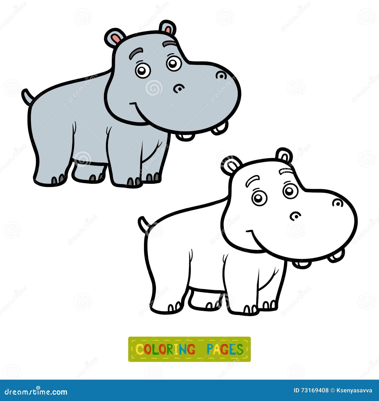 Libro De Colorear Para Los Niños Pequeño Hipopótamo Ilustración Del