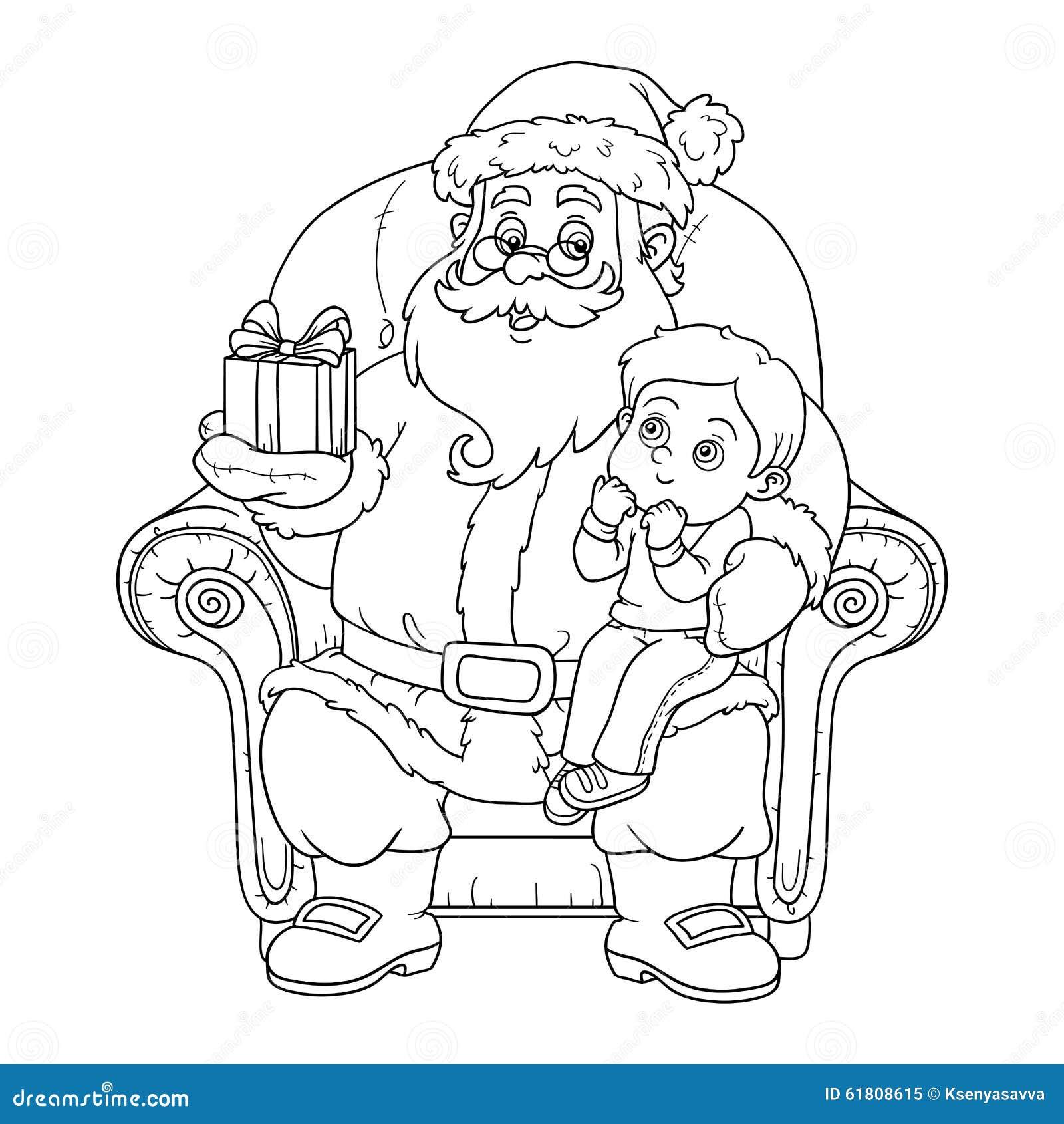 Libro De Colorear Para Los Niños: Santa Claus Da A Regalo Pequeña BO ...