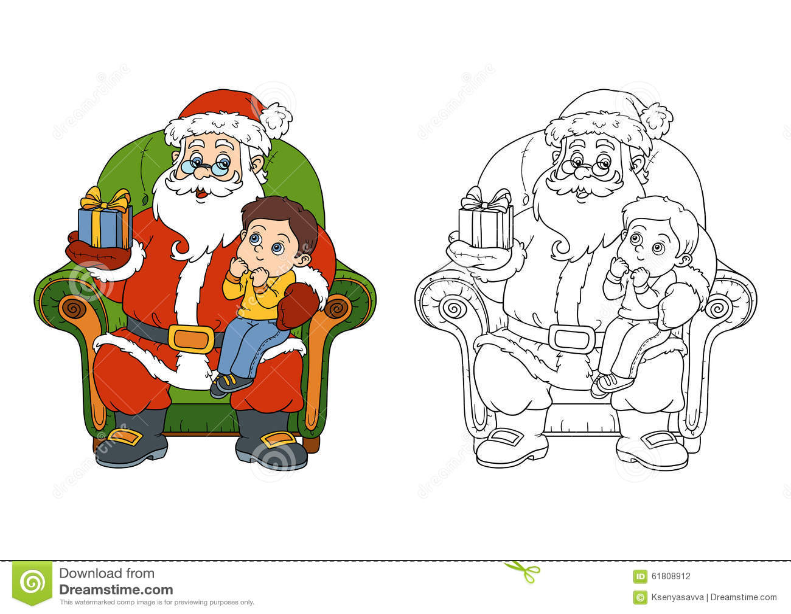 Libro De Colorear Para Los Niños: Santa Claus Da A Regalo Un Niño ...