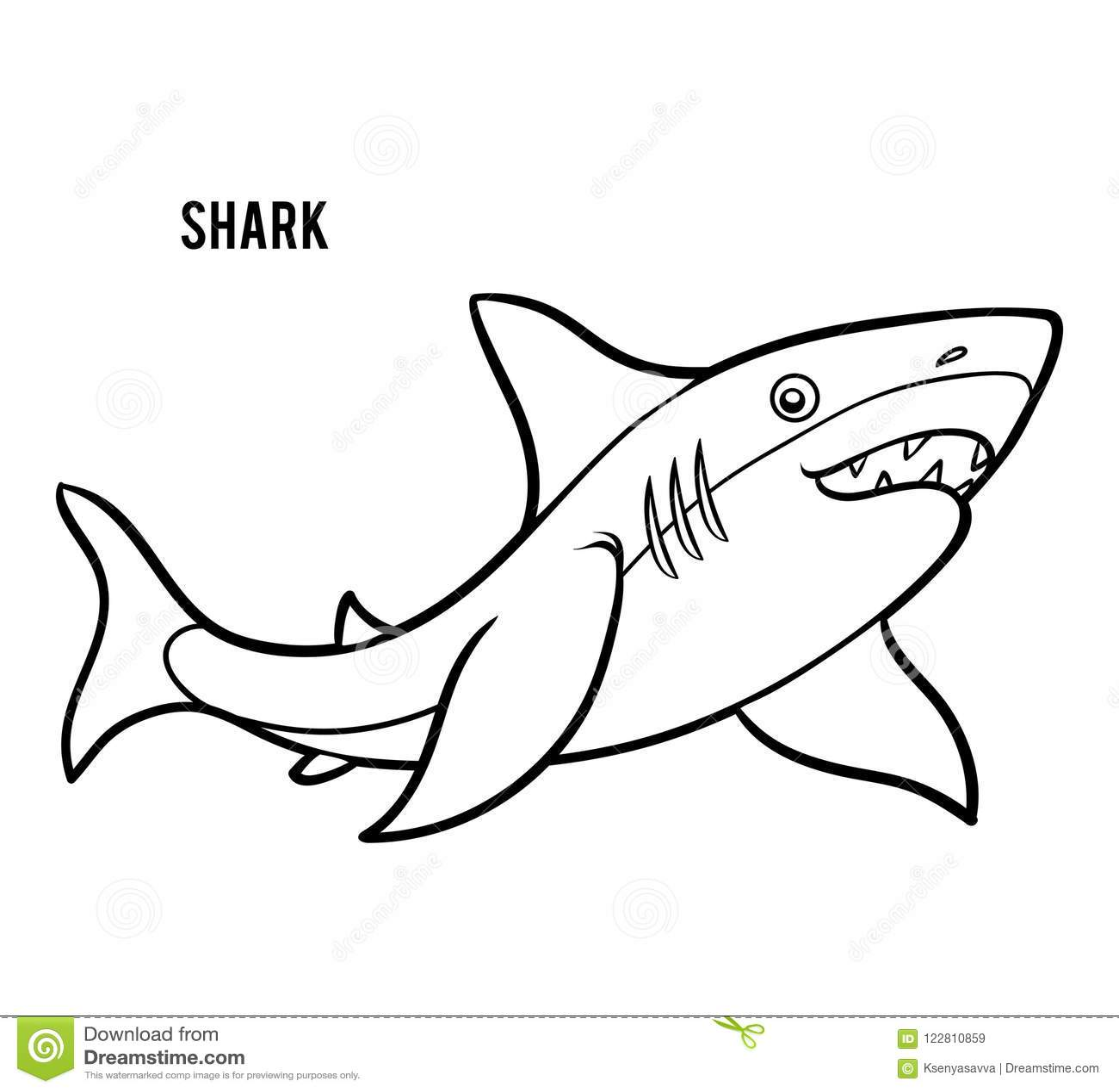 Libro De Colorear Para Los Niños Tiburón Ilustración Del