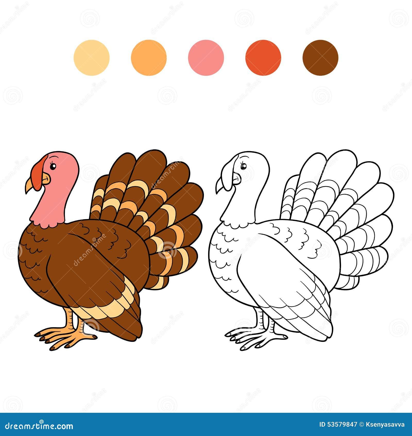 Libro de colorear (pavo) ilustración del vector. Ilustración de ...