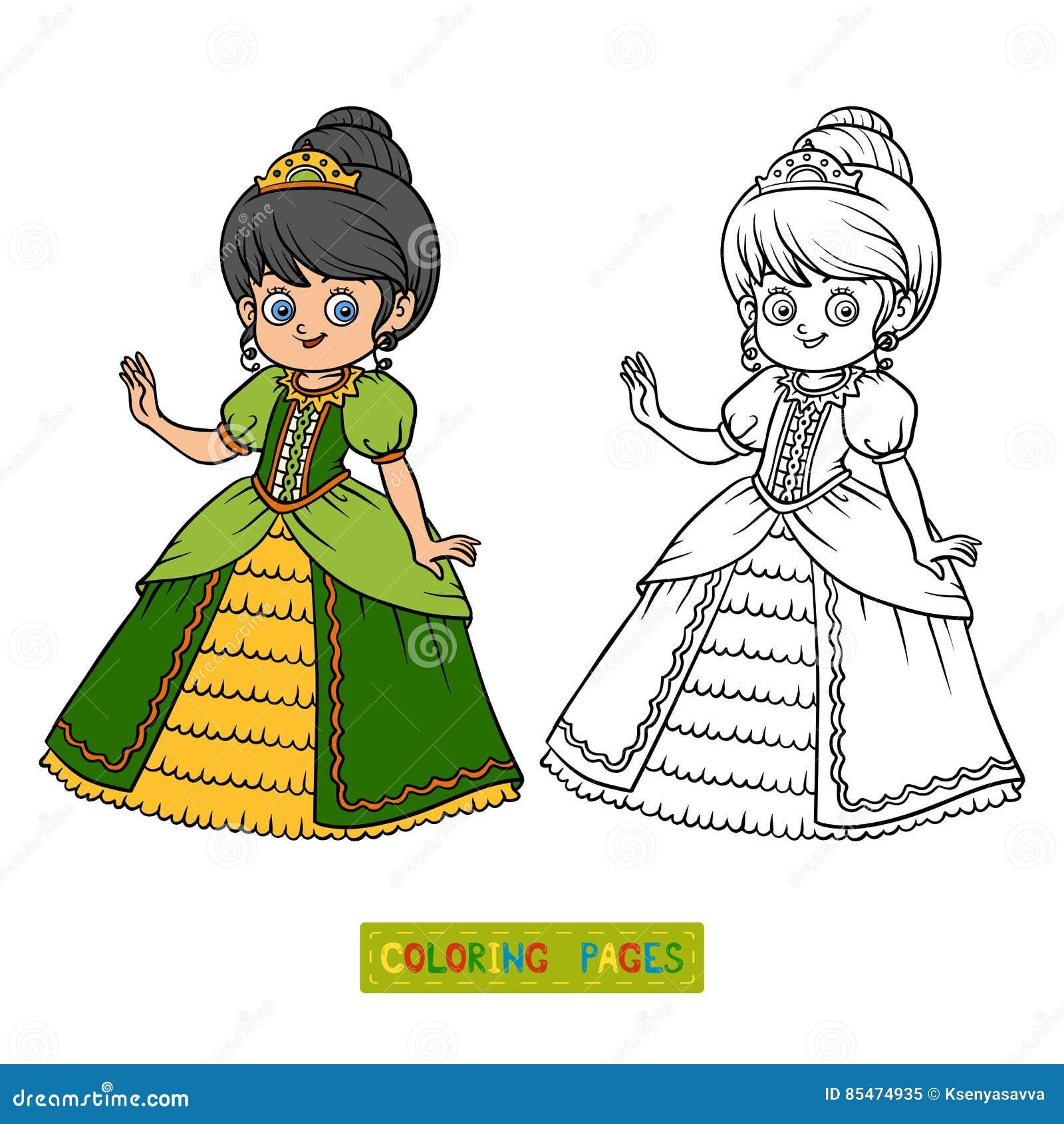 Libro De Colorear Personaje De Dibujos Animados Princesa