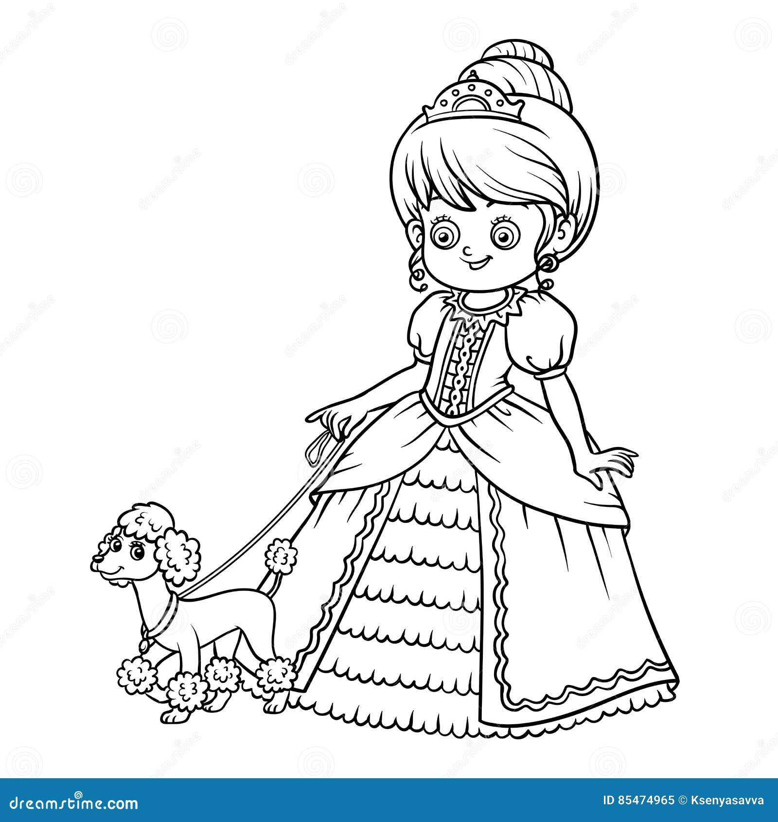 Libro De Colorear Personaje De Dibujos Animados Princesa Con El