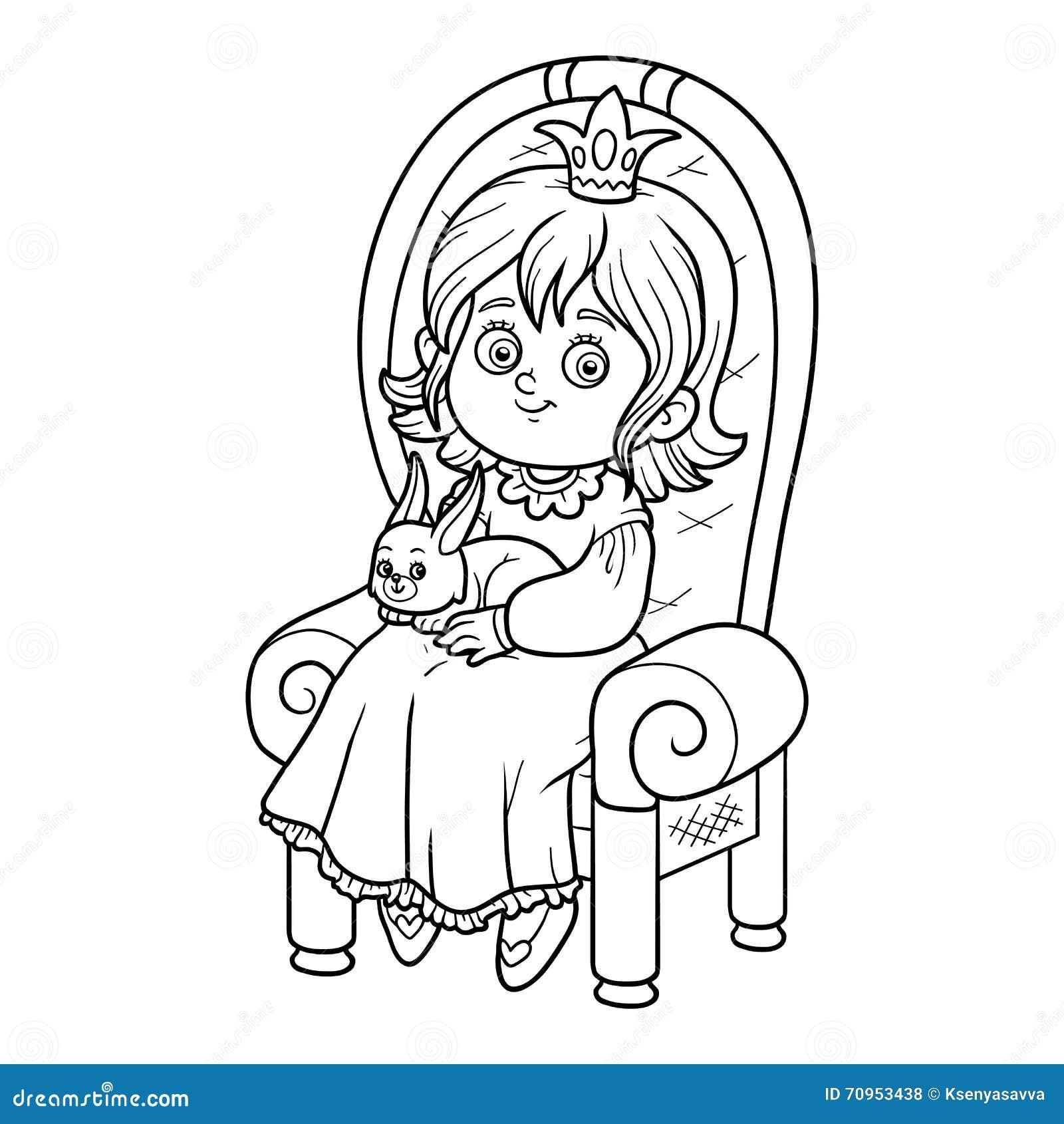 Libro De Colorear, Princesa Asentada En Un Trono Ilustración del ...