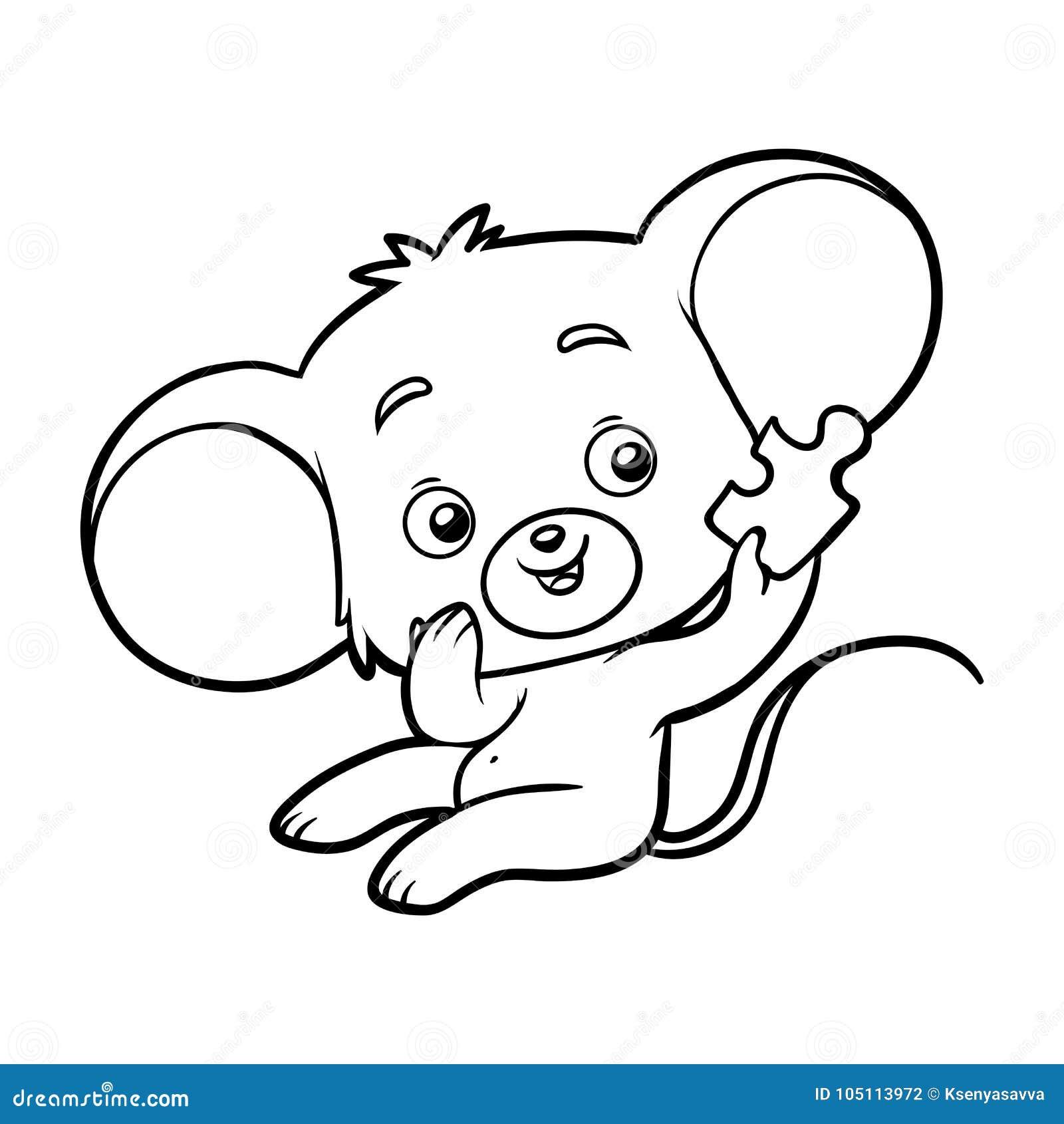 Libro de colorear, ratón ilustración del vector. Ilustración de ...