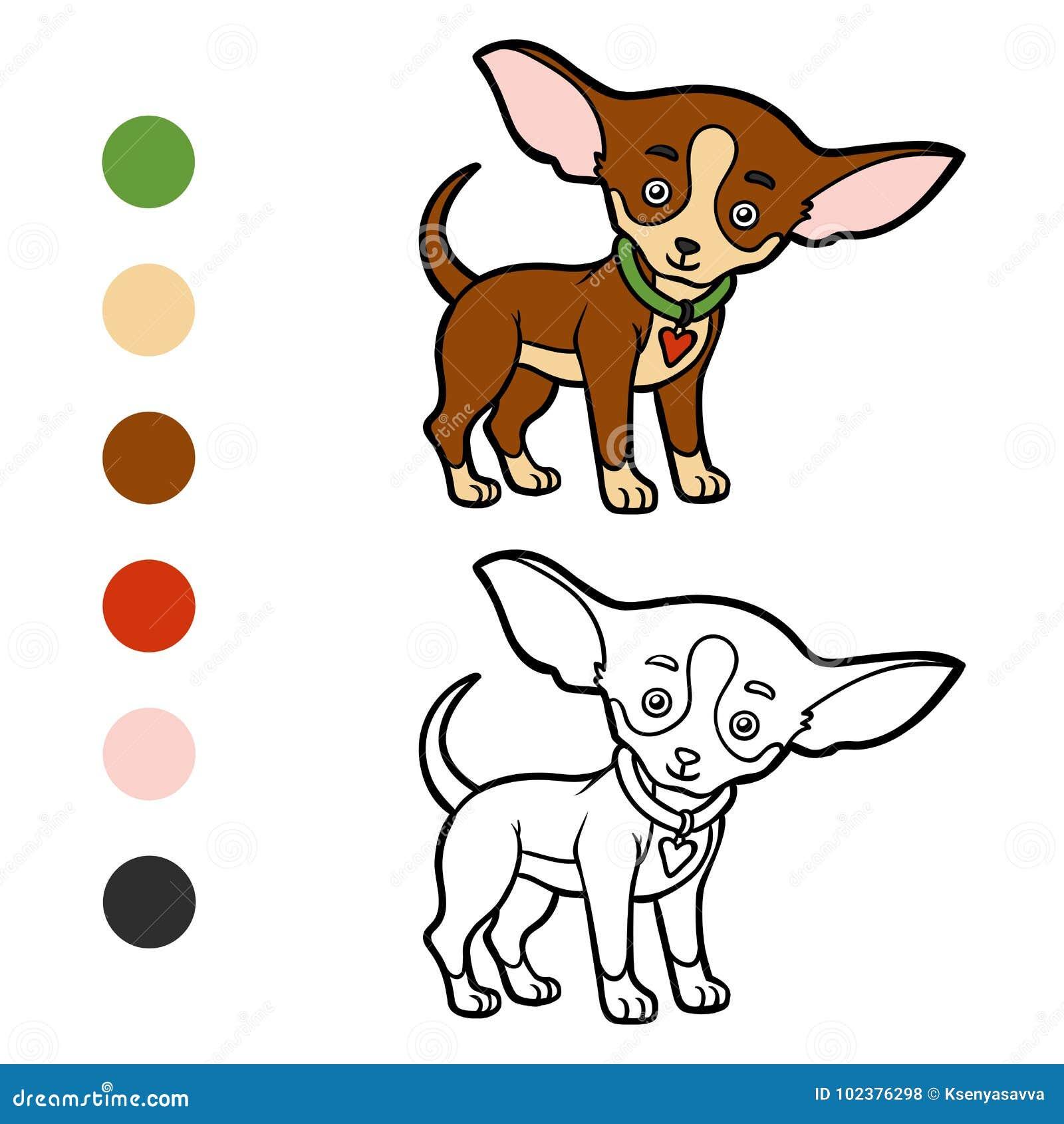 Libro De Colorear, Razas Del Perro: Chihuahua Ilustración del Vector ...