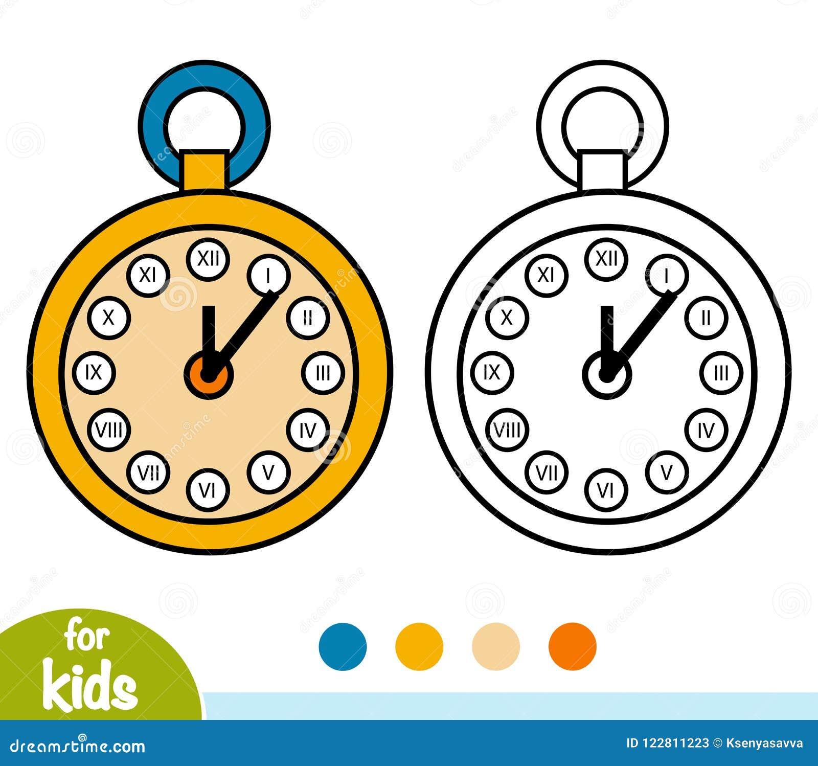 Libro De Colorear Reloj De Bolsillo Ilustración Del Vector Ilustración De Contorno Objeto 122811223