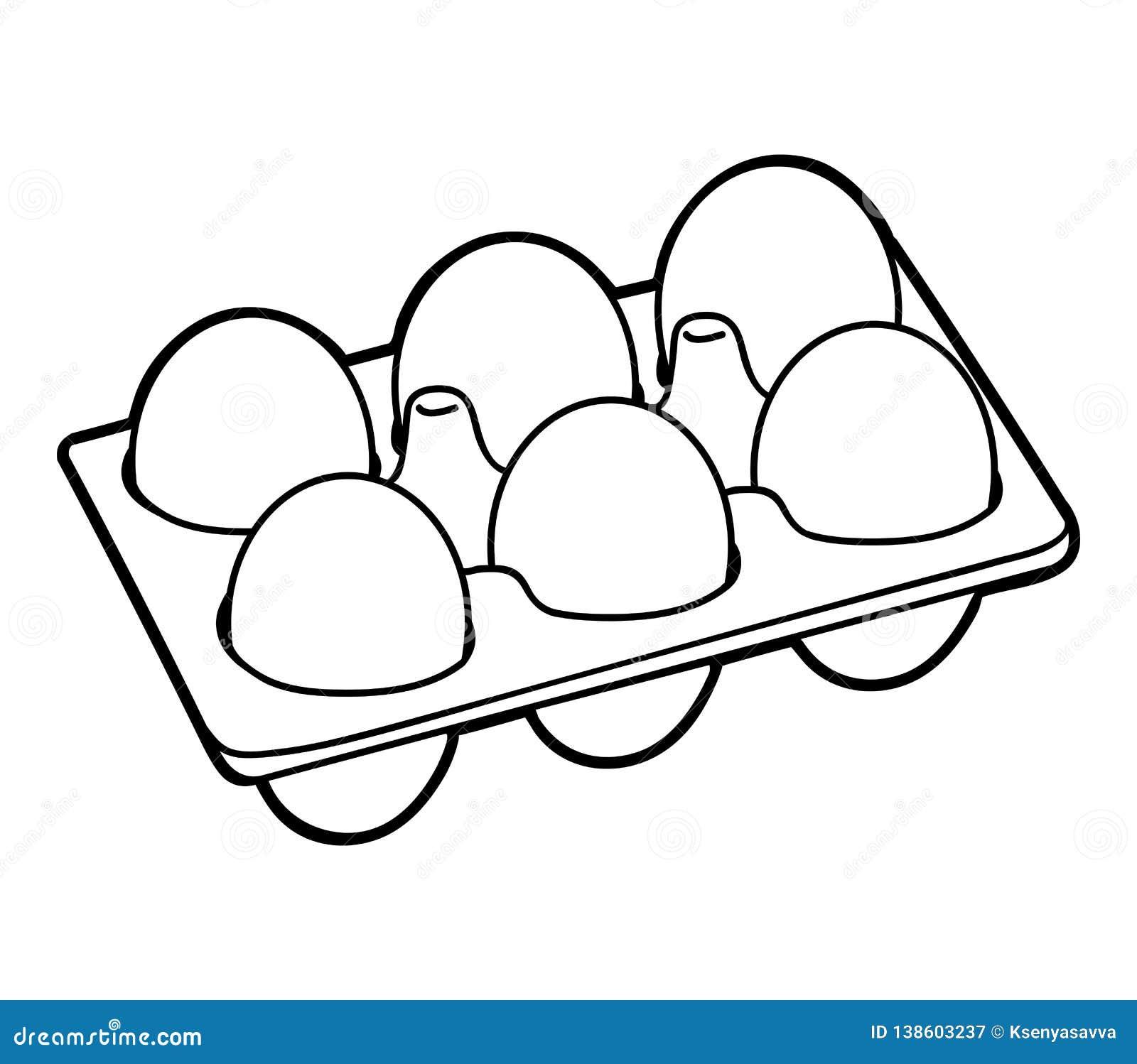 Libro De Colorear Seis Huevos Del Pollo Ilustración Del Vector Ilustración De Alimento Negro 138603237