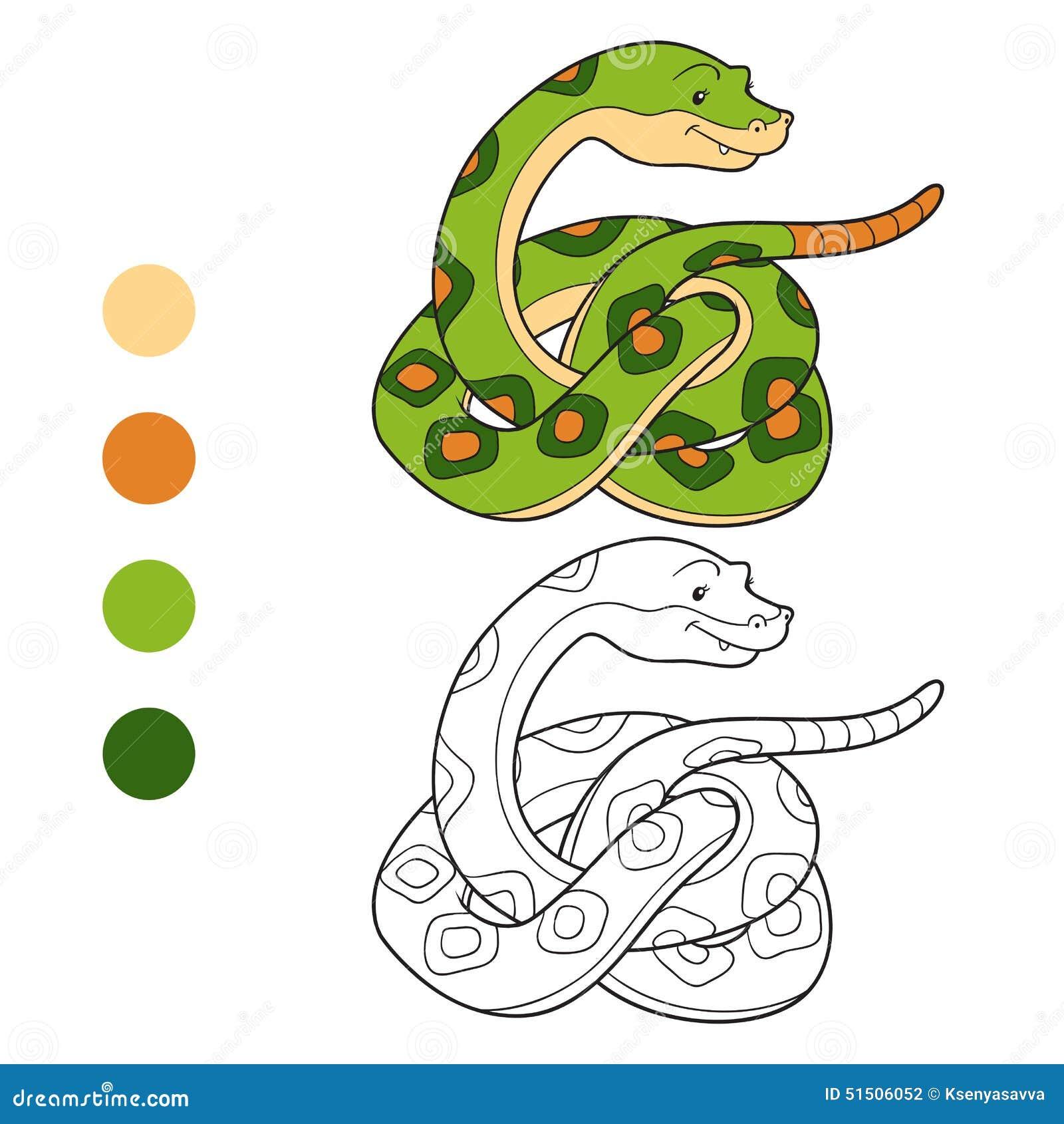 Libro De Colorear, Serpiente De Cascabel Ilustración del Vector ...
