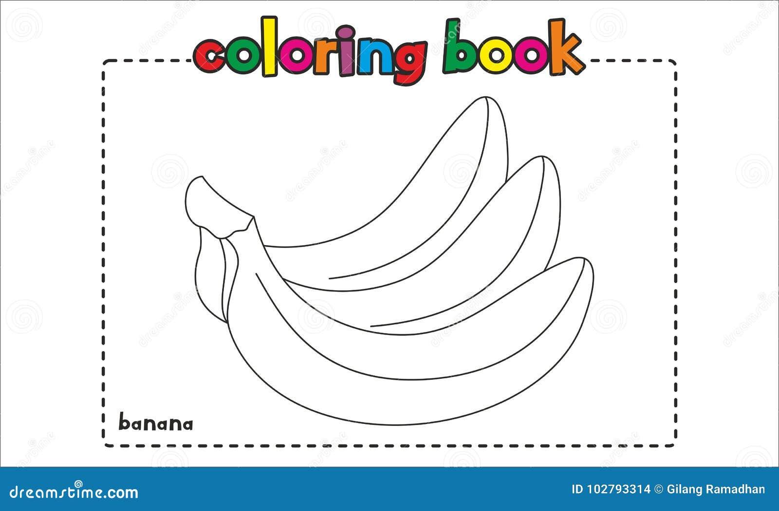 Libro De Colorear Simple Del Plátano Para Los Niños Y Los